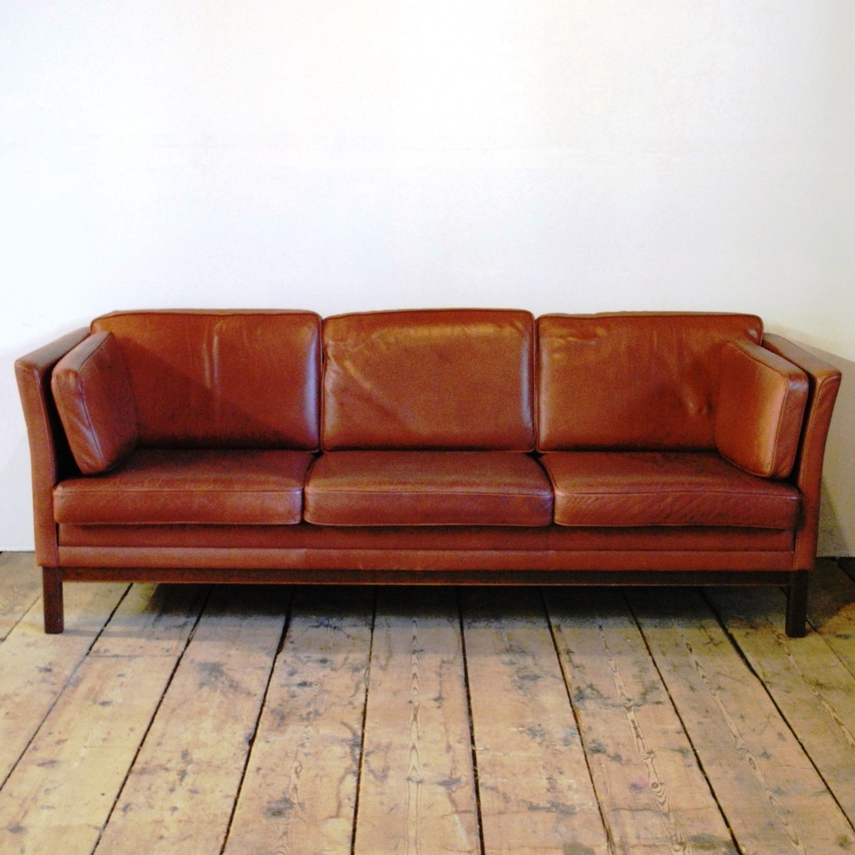 98246 A Mid Century Three Seat Sofa In Full Grain Leather within Widely used Full Grain Leather Sofas