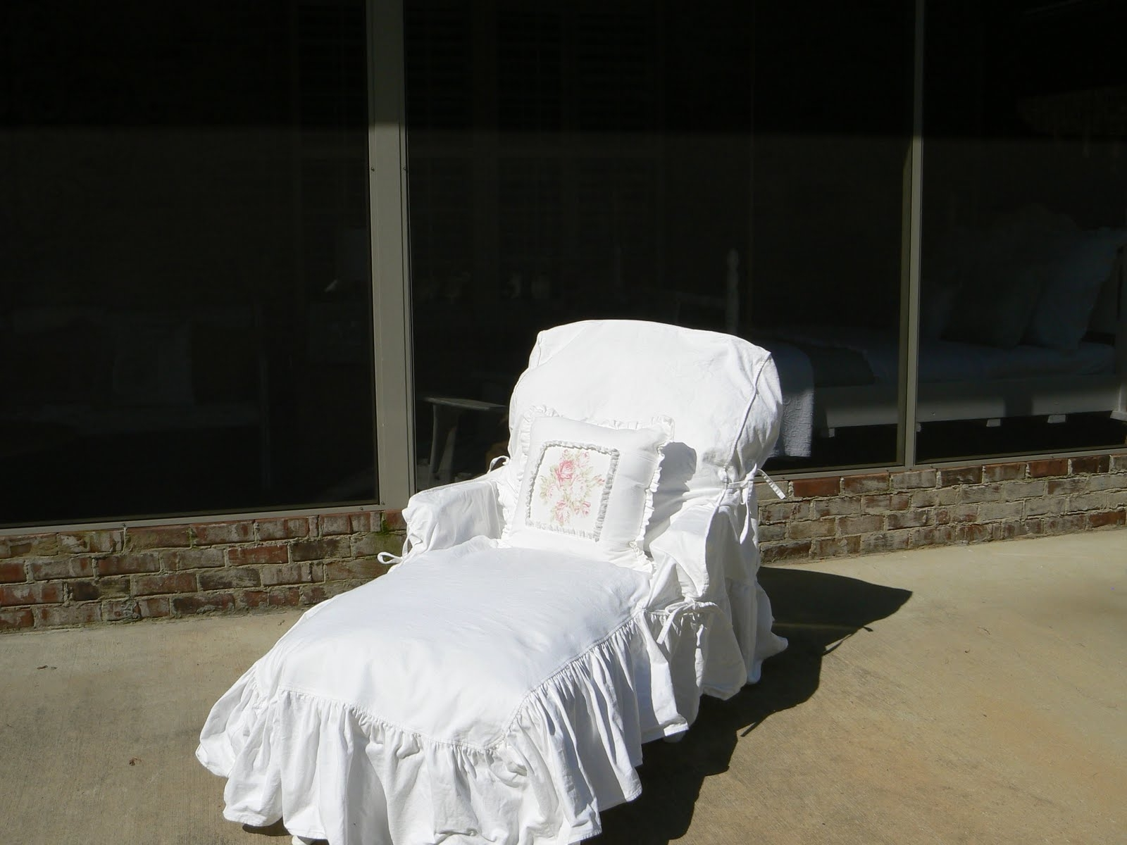 A Well Loved Home: Creating A Shabby Chic Outdoor Patio Regarding Current Indoor Chaise Lounge Slipcovers (View 1 of 15)