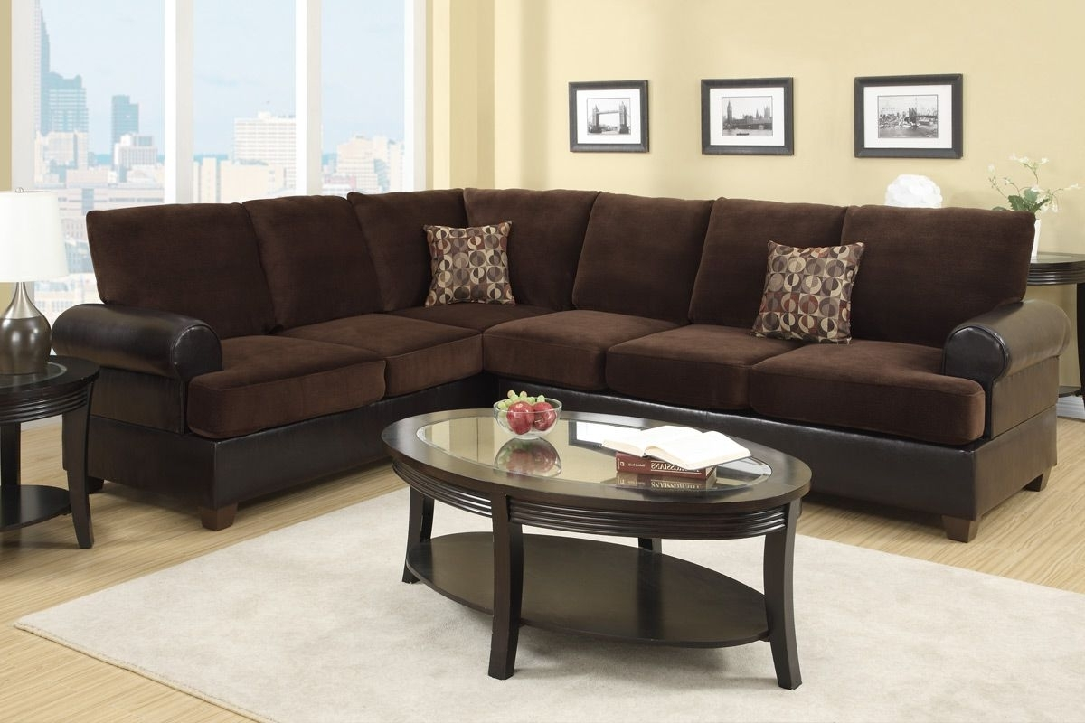Abbas Chocolate Microsuede Sectional Sofa – Steal A Sofa Furniture Pertaining To Fashionable Microsuede Sectional Sofas (View 1 of 15)