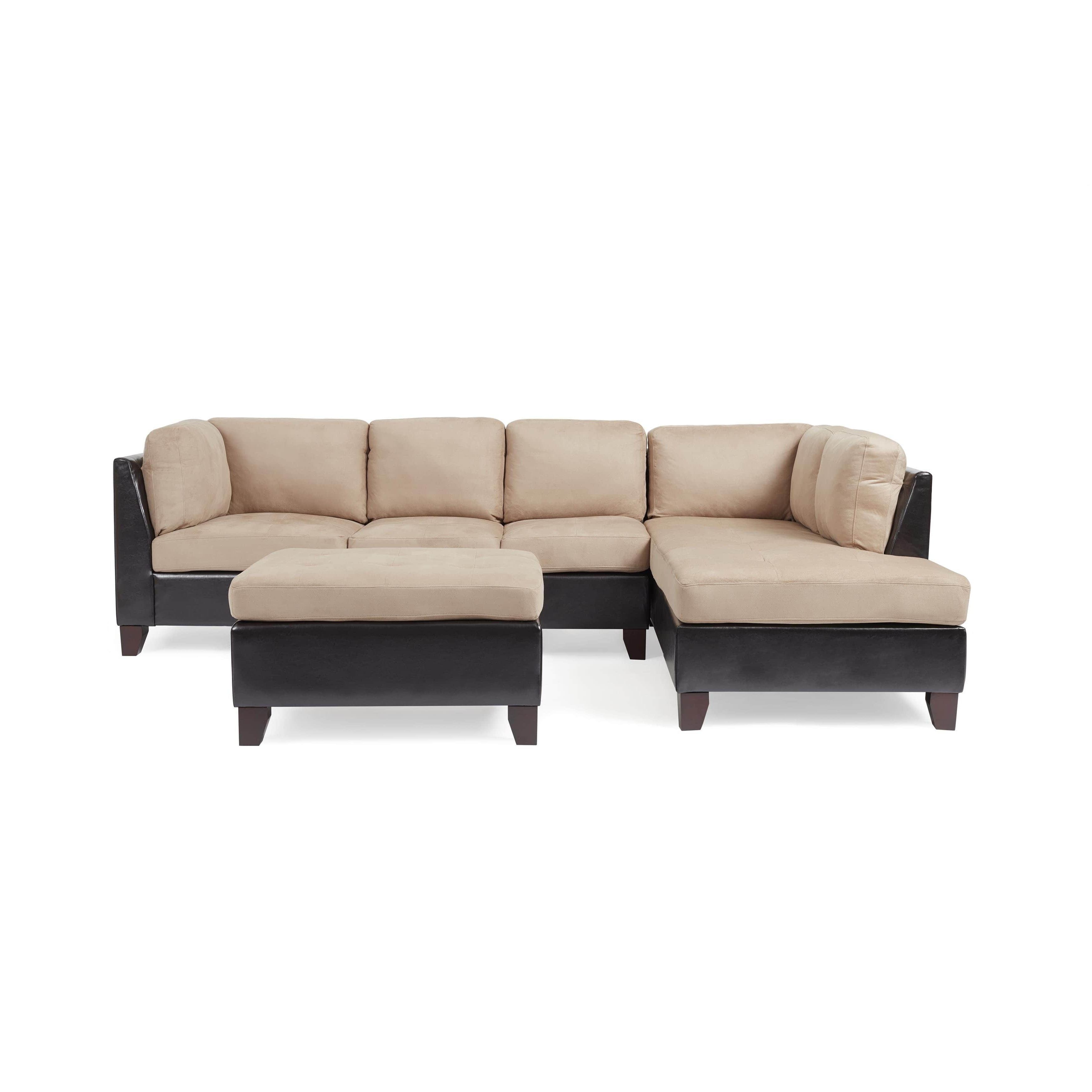 Abbyson Charlotte Beige Sectional Sofa And Ottoman – Free Shipping With Famous Charlotte Sectional Sofas (View 2 of 15)