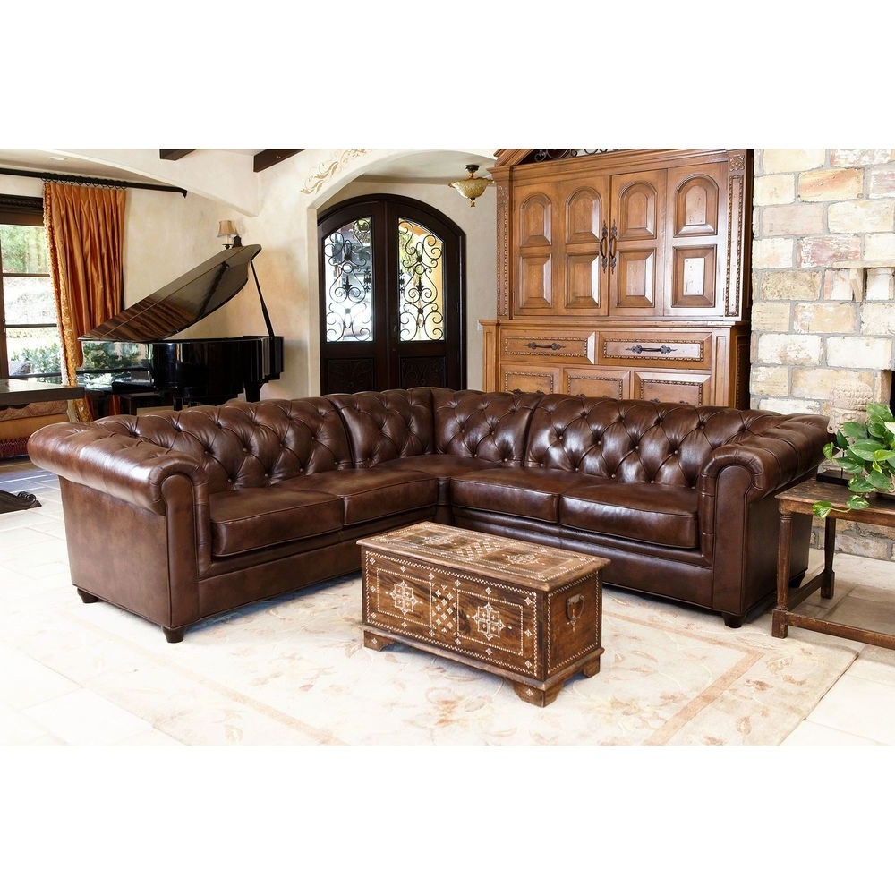 Abbyson Living Tuscan Tufted Top Grain Leather 3 Piece Sectional In Favorite Abbyson Sectional Sofas (View 4 of 15)