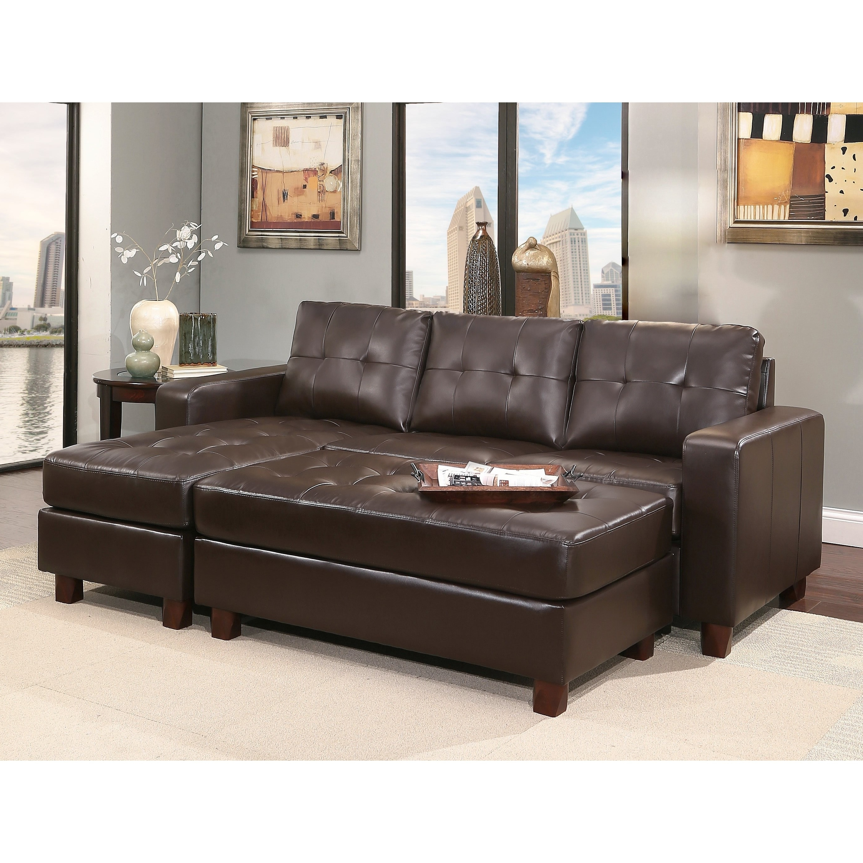 Abbyson Montgomery Leather Reversible Sectional And Ottoman – Free In Widely Used Sectionals With Ottoman (View 2 of 15)
