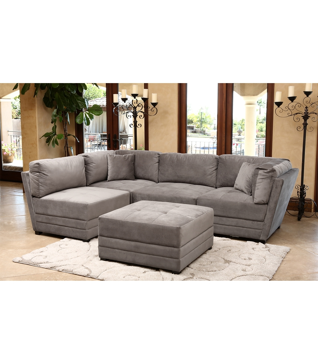 Abbyson Sectional Sofas With Famous Sectionals : Leyla Sectional, Taupe (View 5 of 15)