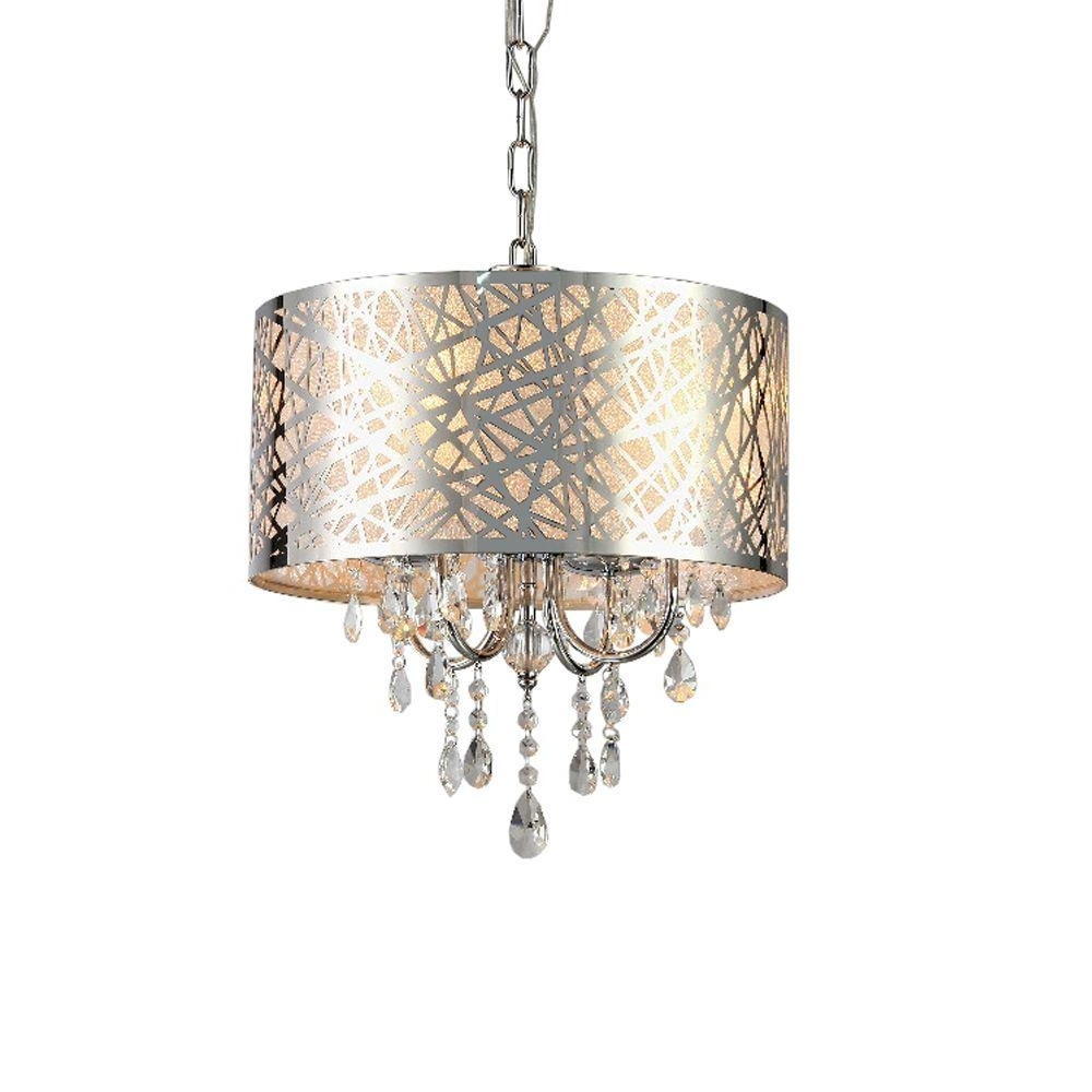 Abstract 4 Light Chrome Indoor Crystal Chandelier With Shade Rl5425 Intended For Famous Chandelier With Shades And Crystals (View 12 of 15)