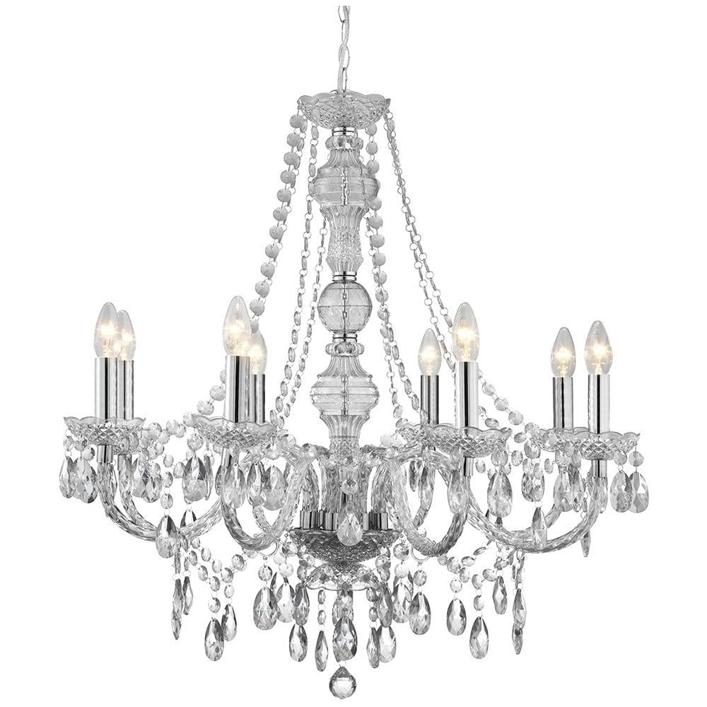 Acrylic Chandelier Lighting With Regard To Fashionable Searchlight Marie Therese 8 Light Clear Acrylic Chandelier –  (View 6 of 15)
