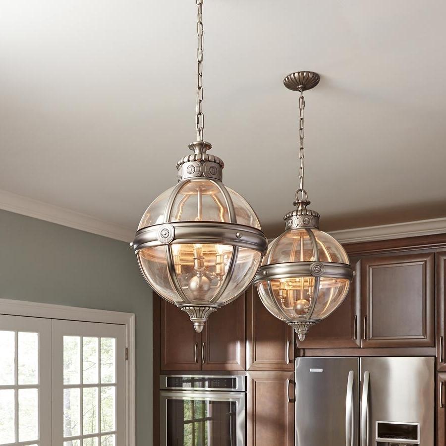 Adams 4 Light Globe Pendant Chandelier Lantern Antique Nickel Regarding Recent Chandelier Globe (View 4 of 15)