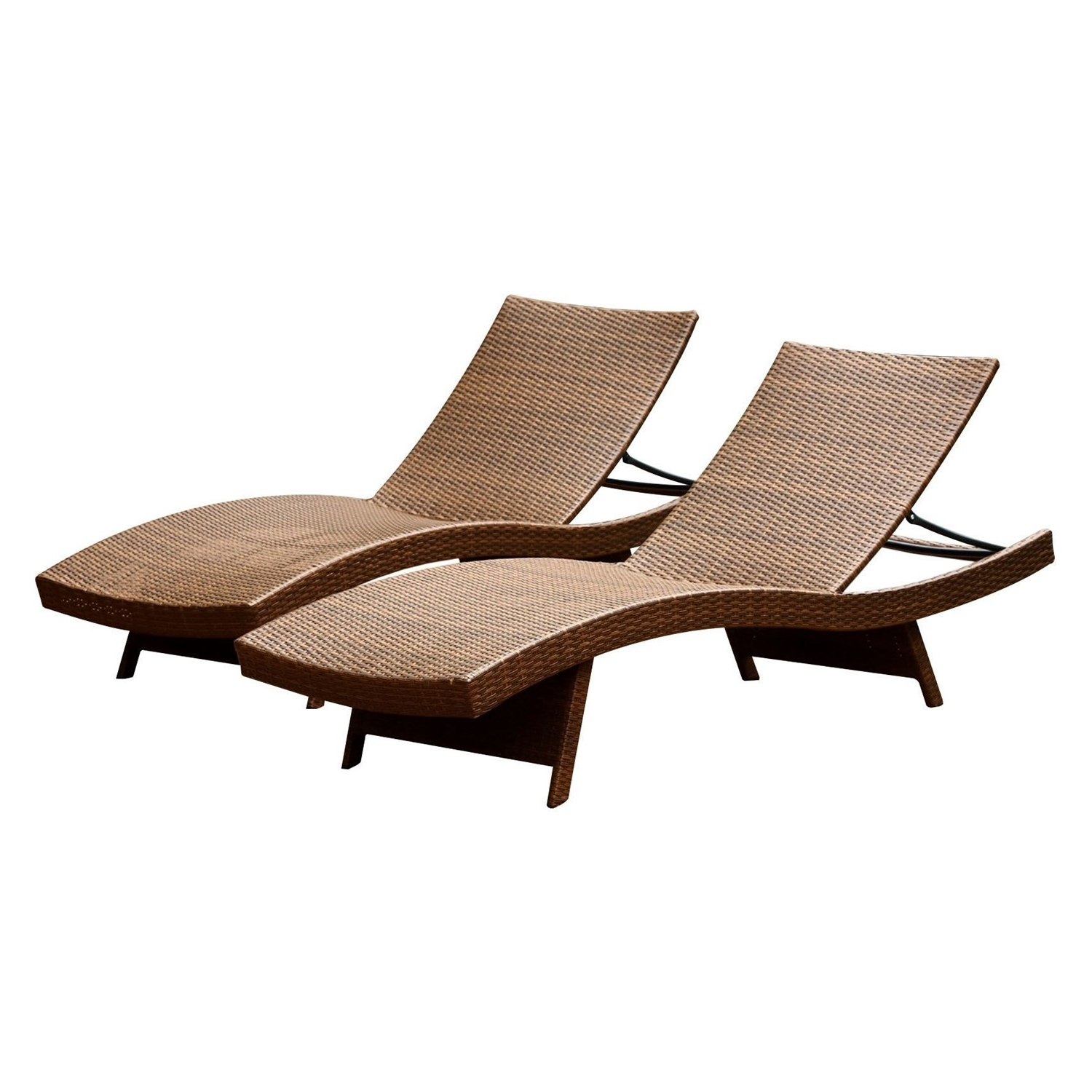 Adjustable Chaise Lounges With Regard To Recent Abbyson Living Dl Rlc150 Brn Set2 Palermo Outdoor Adjustable Brown (View 6 of 15)
