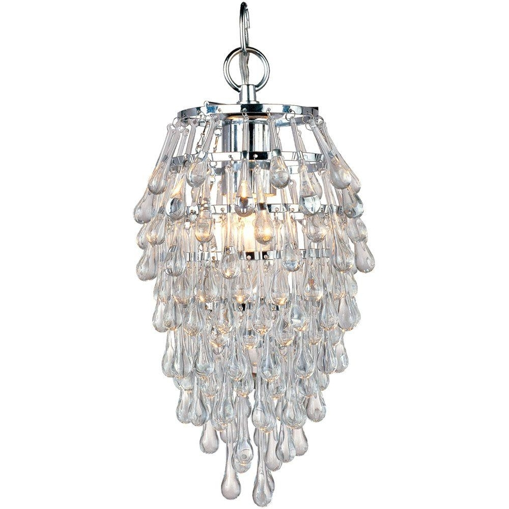 Af Lighting Crystal Teardrop 1 Light Chrome Mini Chandelier With With Widely Used Chrome And Glass Chandelier (View 1 of 15)