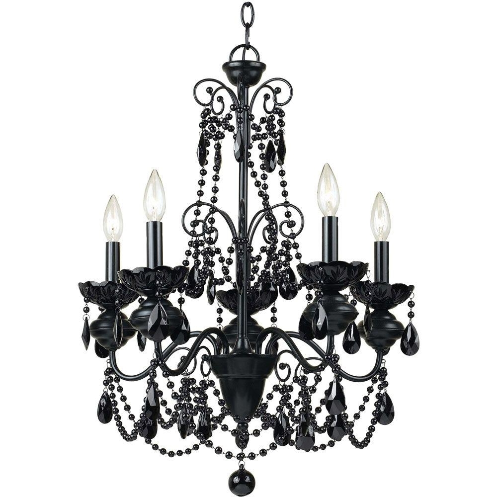 Af Lighting Mischief 5 Light Black Metal Chandelier With Black Glass Pertaining To Trendy Black Glass Chandeliers (View 5 of 15)