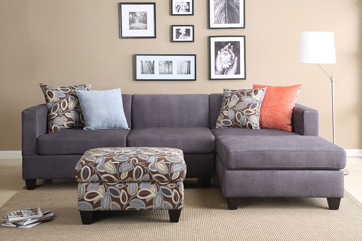 Affordable Sectional Sofas Throughout Most Up To Date 2Pc Smooth Charcoal Microfiber Pillow Reversible Chaise Sectional (View 14 of 15)