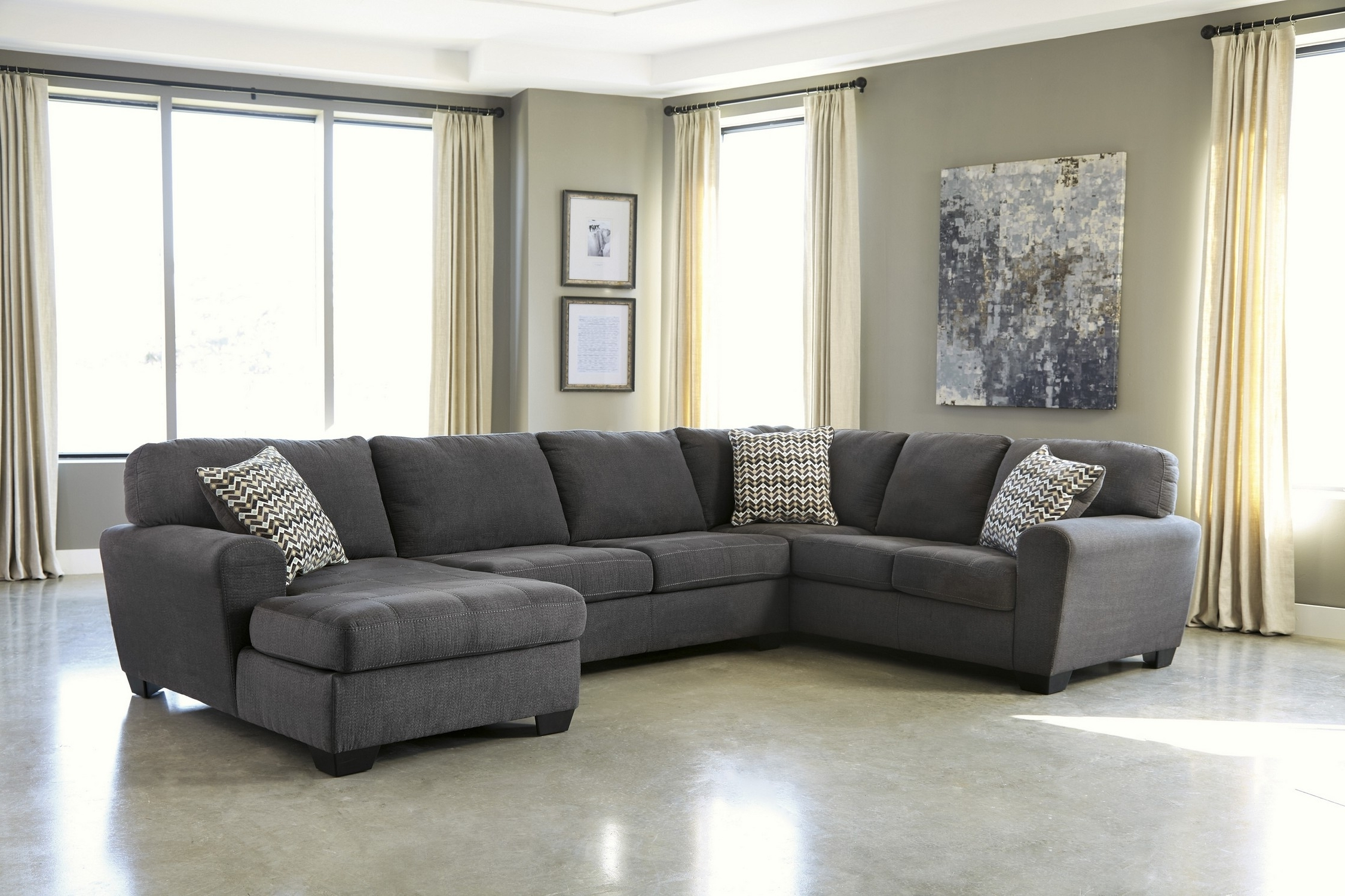 Alenya 3 Piece Sectional Quartz Fabric Reclining Sectional Grey Throughout Widely Used Gray Sectional Sofas With Chaise (View 3 of 15)