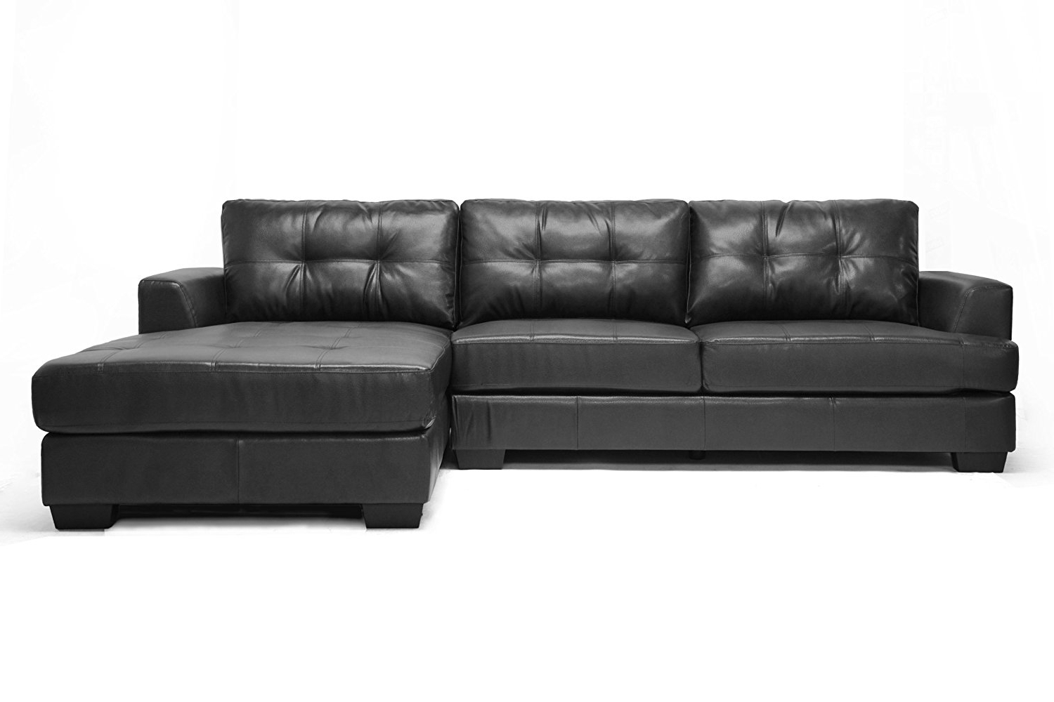 Amazon: Baxton Studio Dobson Leather Modern Sectional Sofa Within Widely Used Leather Sectional Chaises (View 9 of 15)