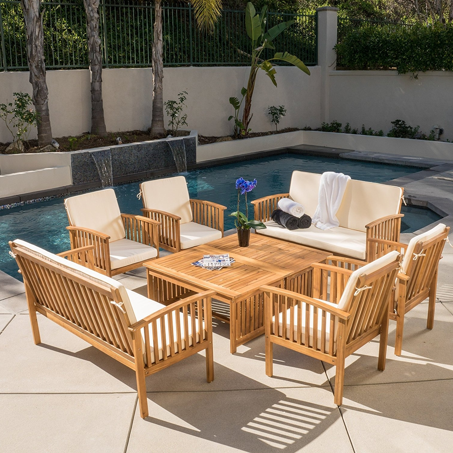 Amazon: Beckley 8 Pc Outdoor Wood Sofa Seating Set: Kitchen In Most Current Outdoor Sofas And Chairs (View 4 of 15)