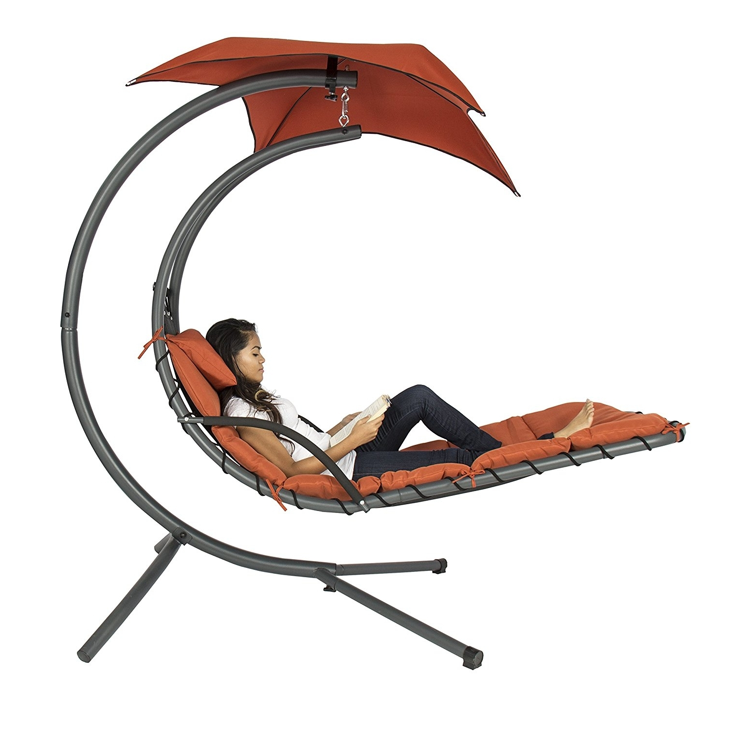 Amazon: Best Choice Products Hanging Chaise Lounger Chair Arc Pertaining To Latest Heavy Duty Chaise Lounge Chairs (View 14 of 15)