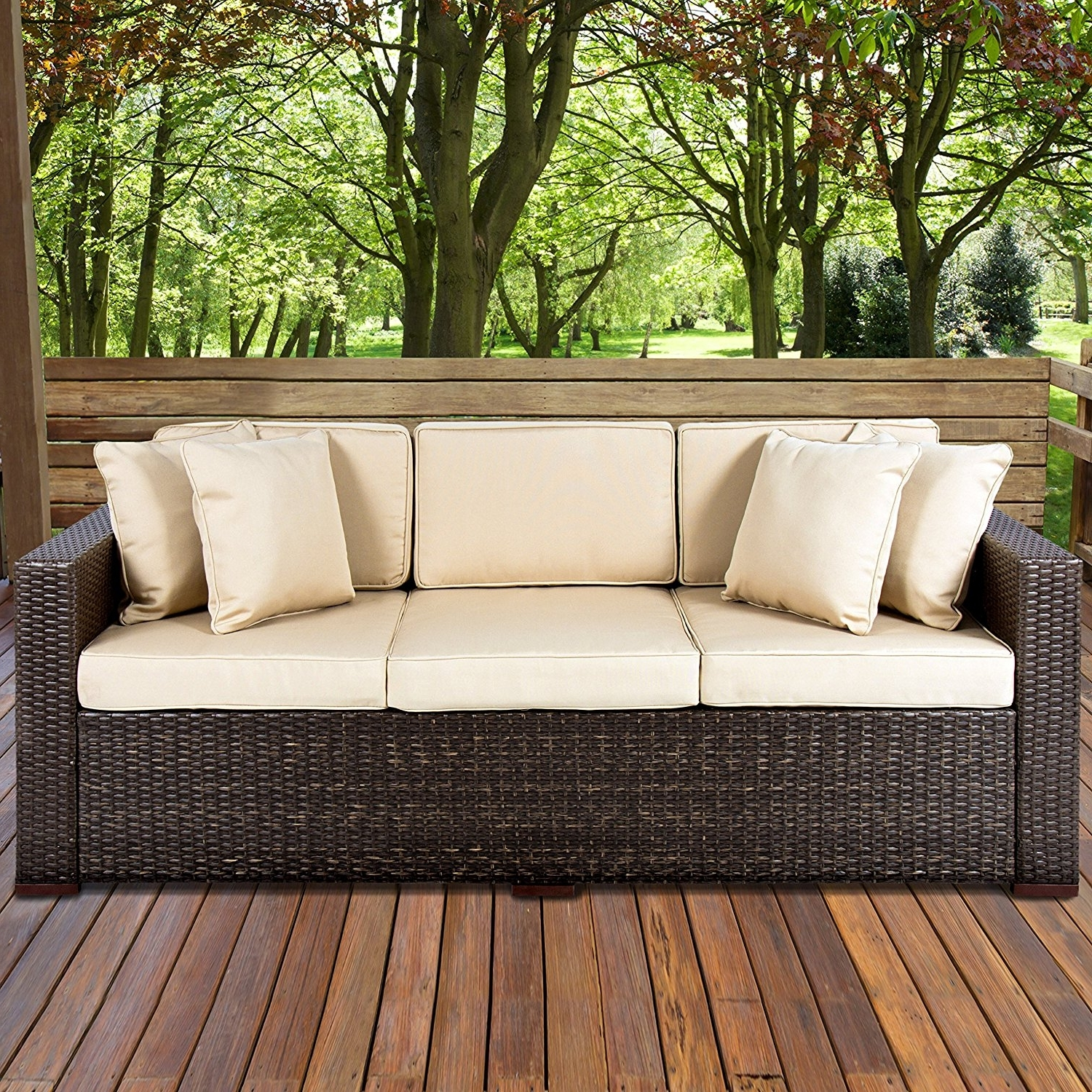 Amazon : Best Choiceproducts Outdoor Wicker Patio Furniture throughout Most Recent Patio Sofas