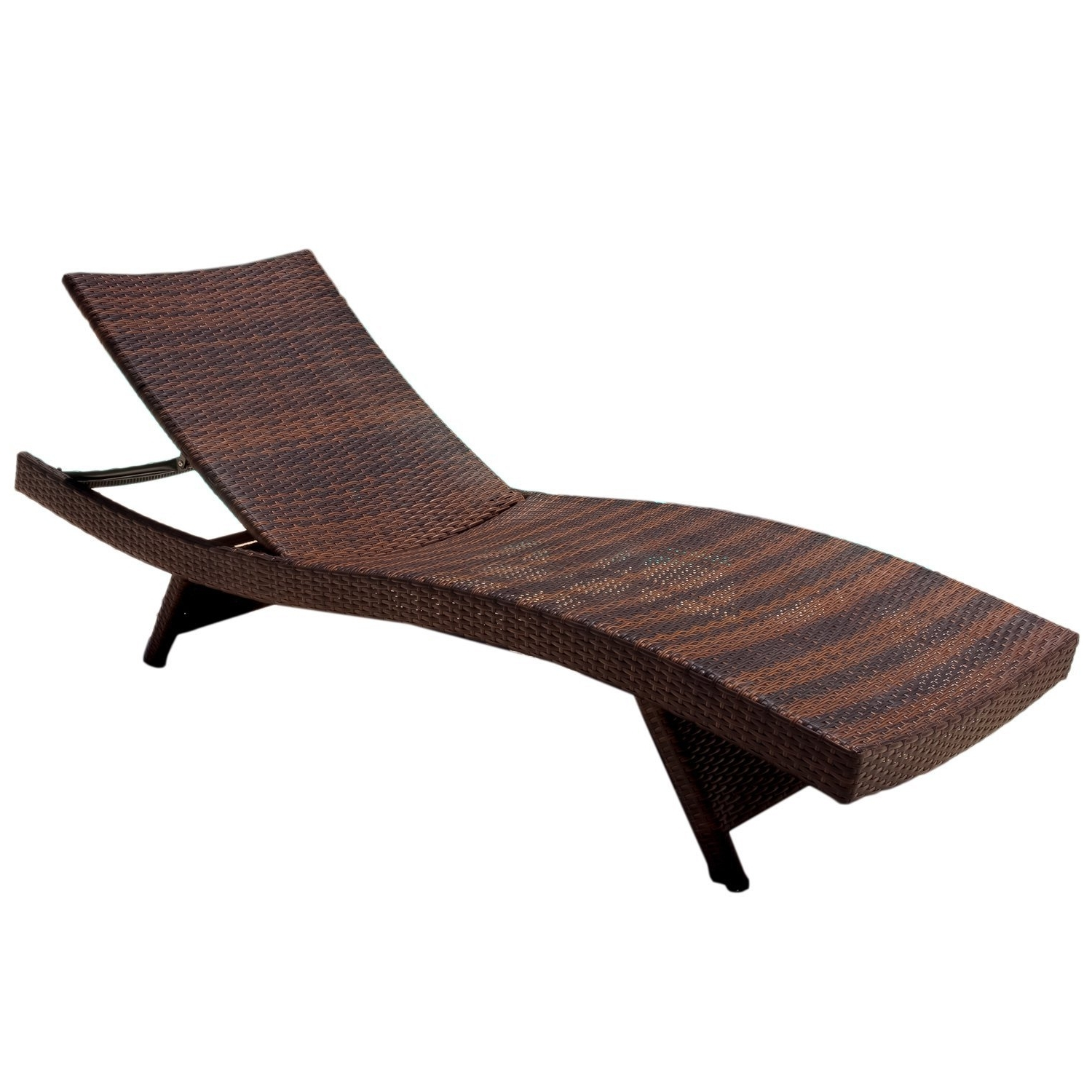 Amazon : Best Selling Outdoor Adjustable Wicker Lounge, Brown With Trendy Contemporary Outdoor Chaise Lounge Chairs (View 1 of 15)