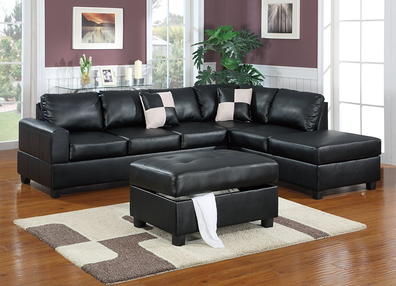 Amazon: Bobkona Hampshire Collection 3 Piece Sectional Sofa Regarding Most Recently Released Black Leather Sectionals With Ottoman (View 9 of 15)