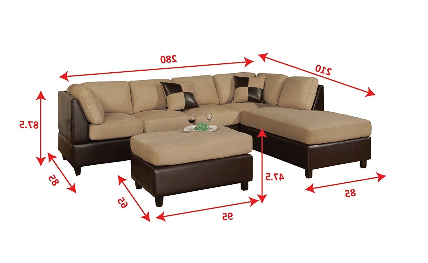 Amazon: Bobkona Hungtinton Microfiber/faux Leather 3 Piece With Regard To Widely Used Measurements Sectional Sofas (View 11 of 15)