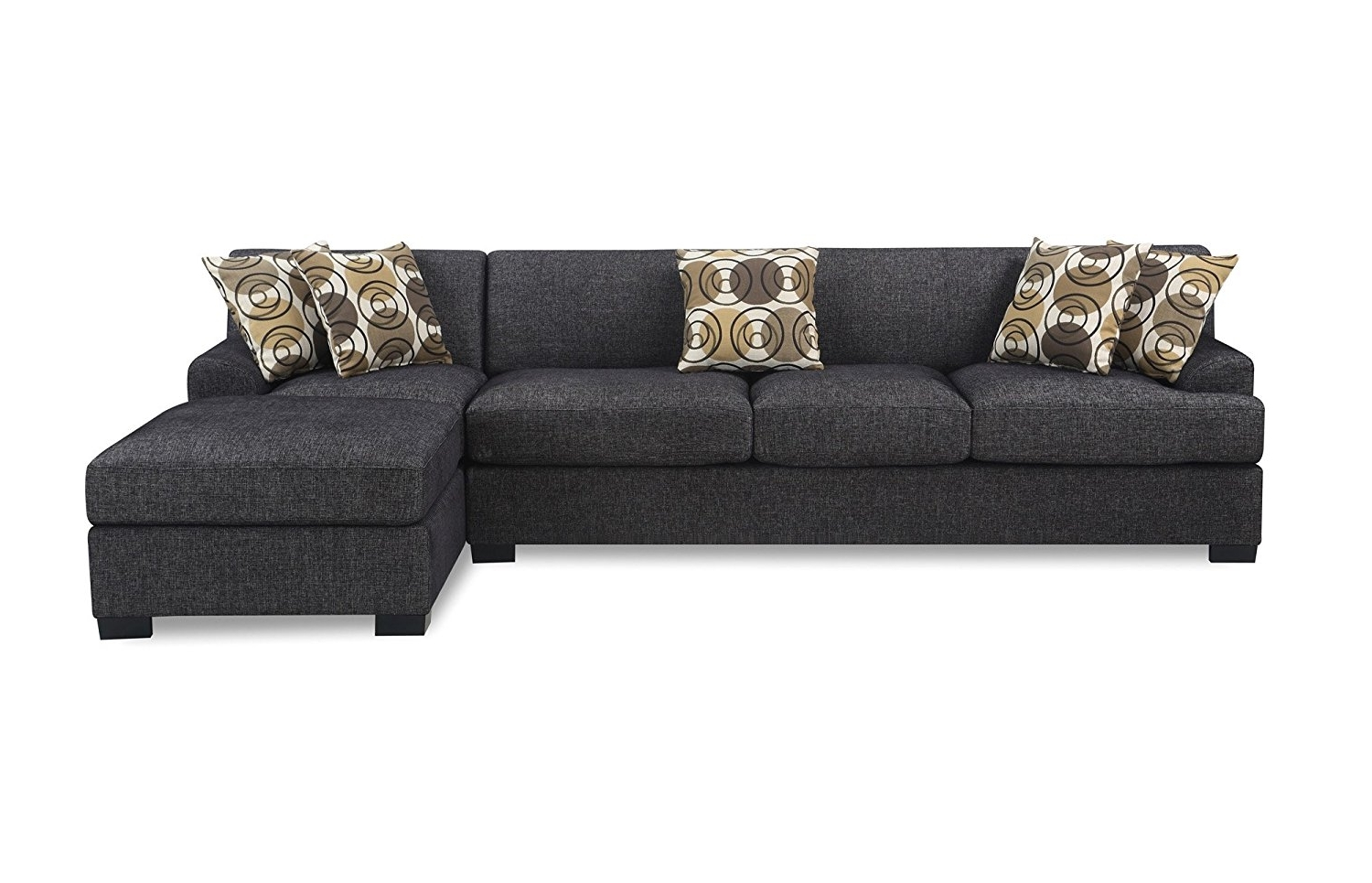 Amazon: Bobkona Poundex Benford Collection Faux Linen Chaise Regarding Favorite Couches With Chaise (View 2 of 15)