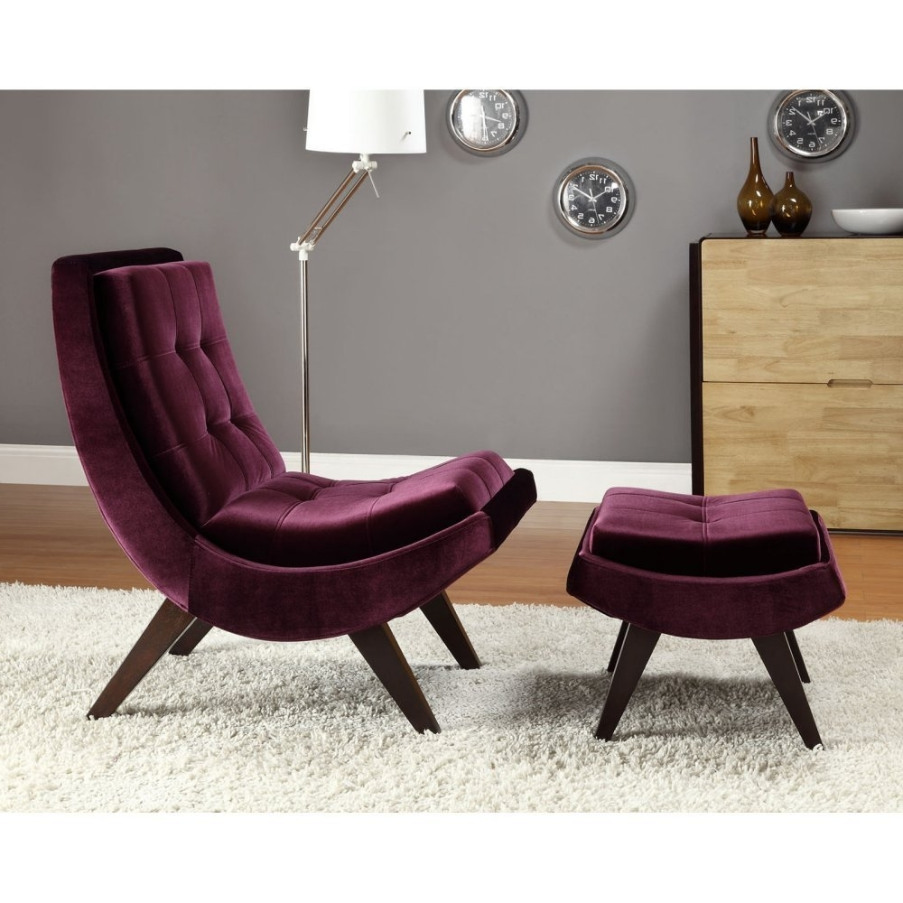 Amazon : Chelsea Lane Lashay Velvet Lounge Chair & Ottoman In 2018 Chairs With Ottoman (View 4 of 15)