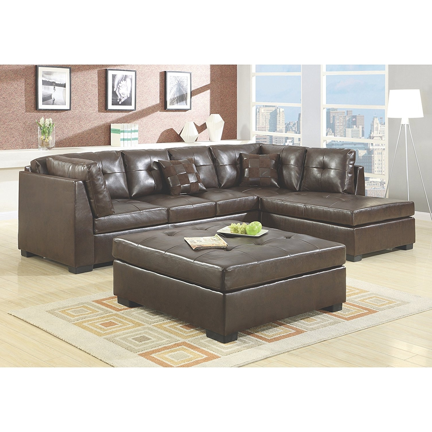 Amazon: Coaster Home Furnishings 500686 Casual Sectional Sofa Pertaining To Favorite Leather Sectionals With Chaise And Ottoman (View 11 of 15)