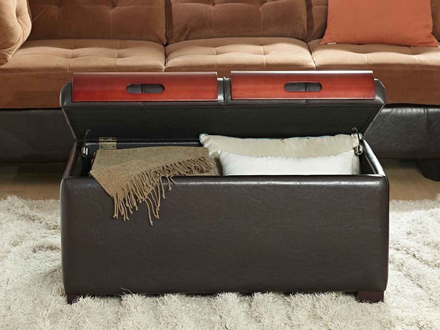 Amazon: Convenience Concepts Designs4Comfort Storage Ottoman For Most Popular Ottomans With Tray (View 2 of 15)