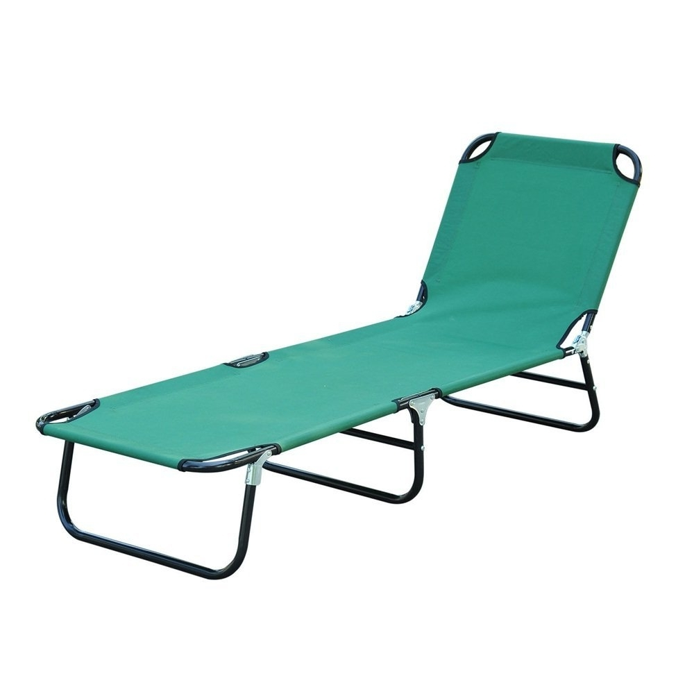 Amazon: Cot Bed Beach Pool Outdoor Sun Durable Folding Chaise Pertaining To Most Popular Chaise Lounge Folding Chairs (View 1 of 15)