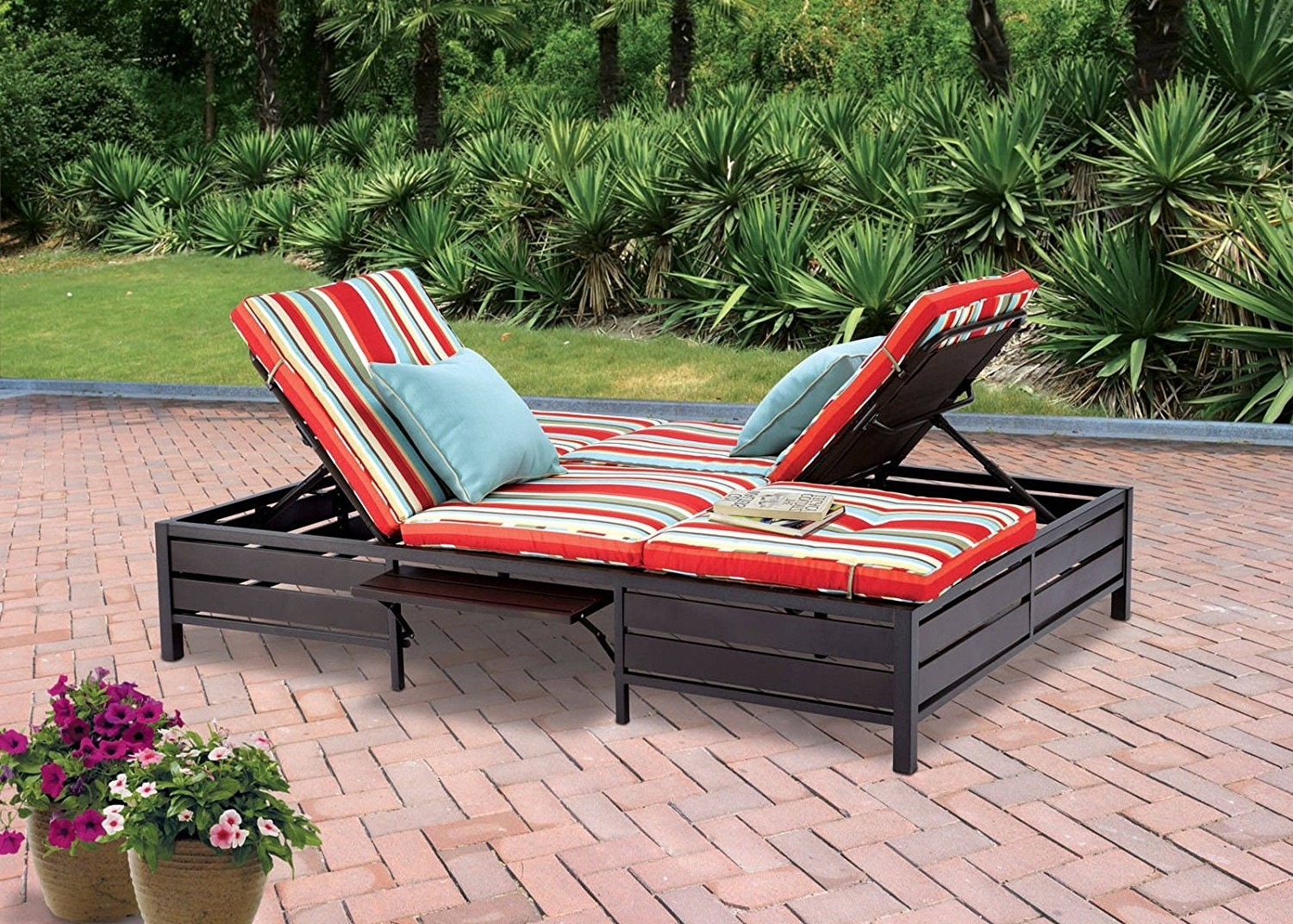 Amazon : Double Chaise Lounger – This Red Stripe Outdoor With Regard To Recent Double Chaise Lounge Chairs (View 3 of 15)