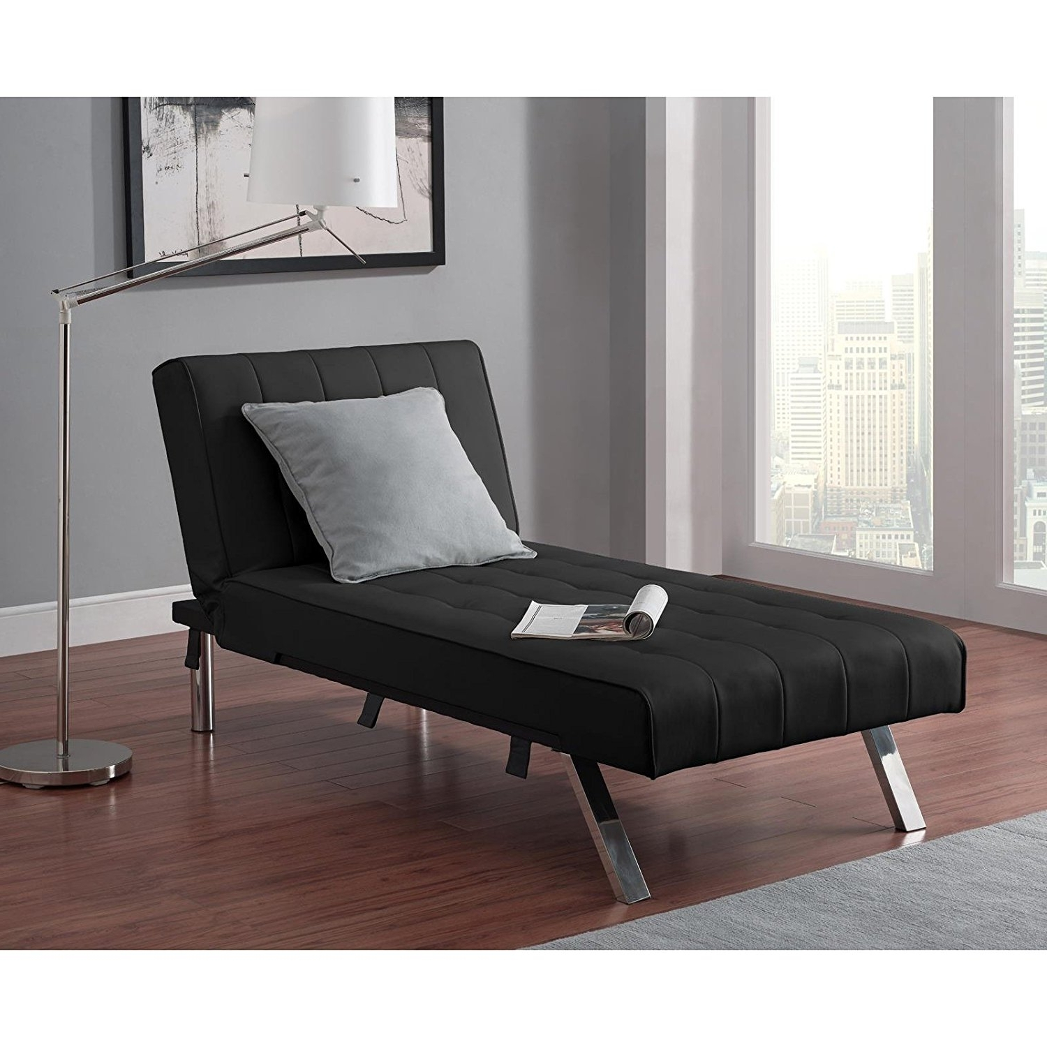 Amazon: Emily Futon With Chaise Lounger Super Bonus Set Black Intended For Latest Futons With Chaise (View 1 of 15)