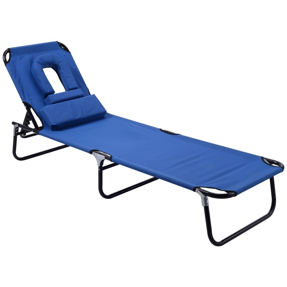Amazon: Goplus Folding Chaise Lounge Chair Bed Outdoor Patio Regarding Most Recent Chaise Lounge Chairs With Face Hole (View 1 of 15)