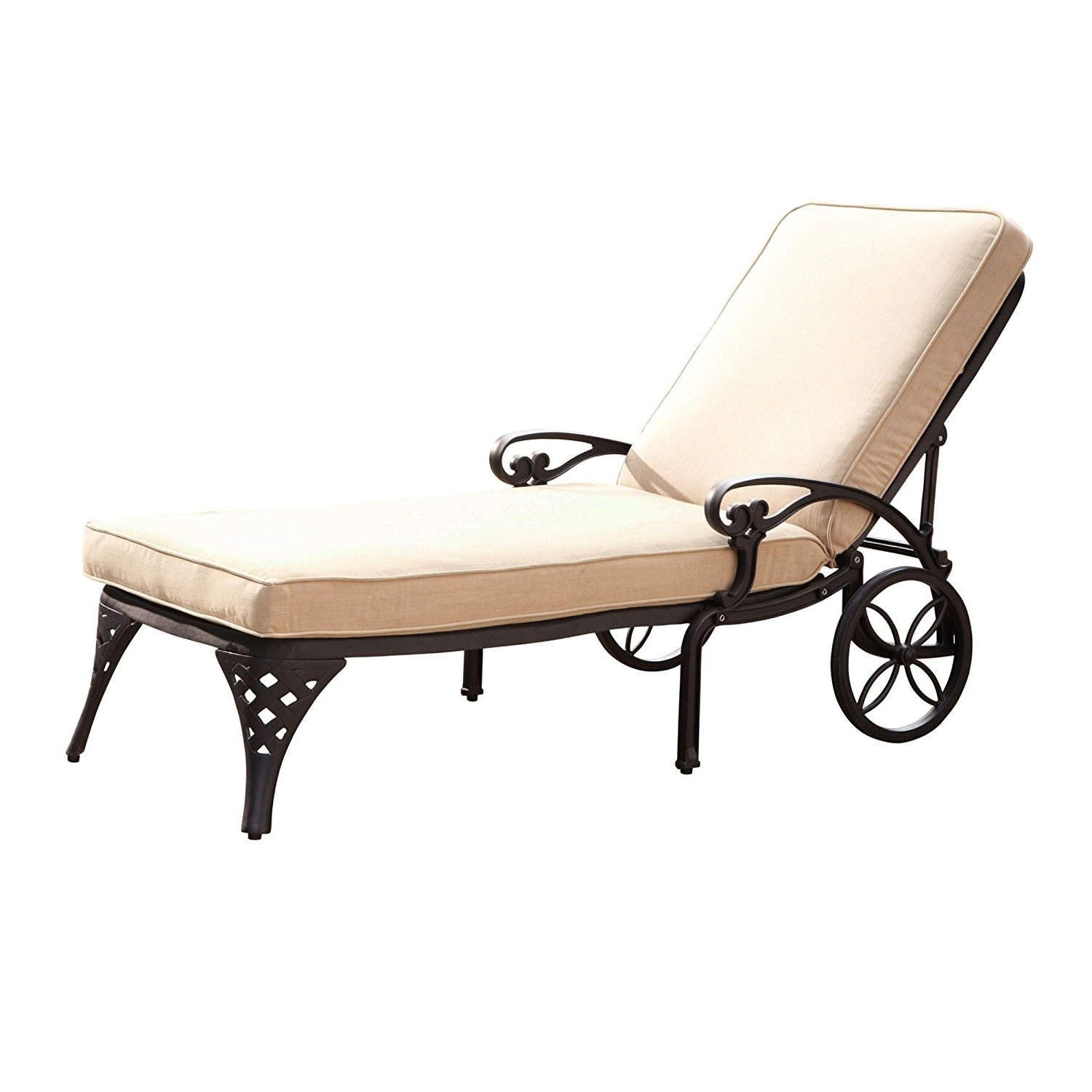 Amazon : Home Styles Biscayne Chaise Lounge Chair, Taupe Inside Popular Aluminum Chaise Lounge Chairs (View 3 of 15)
