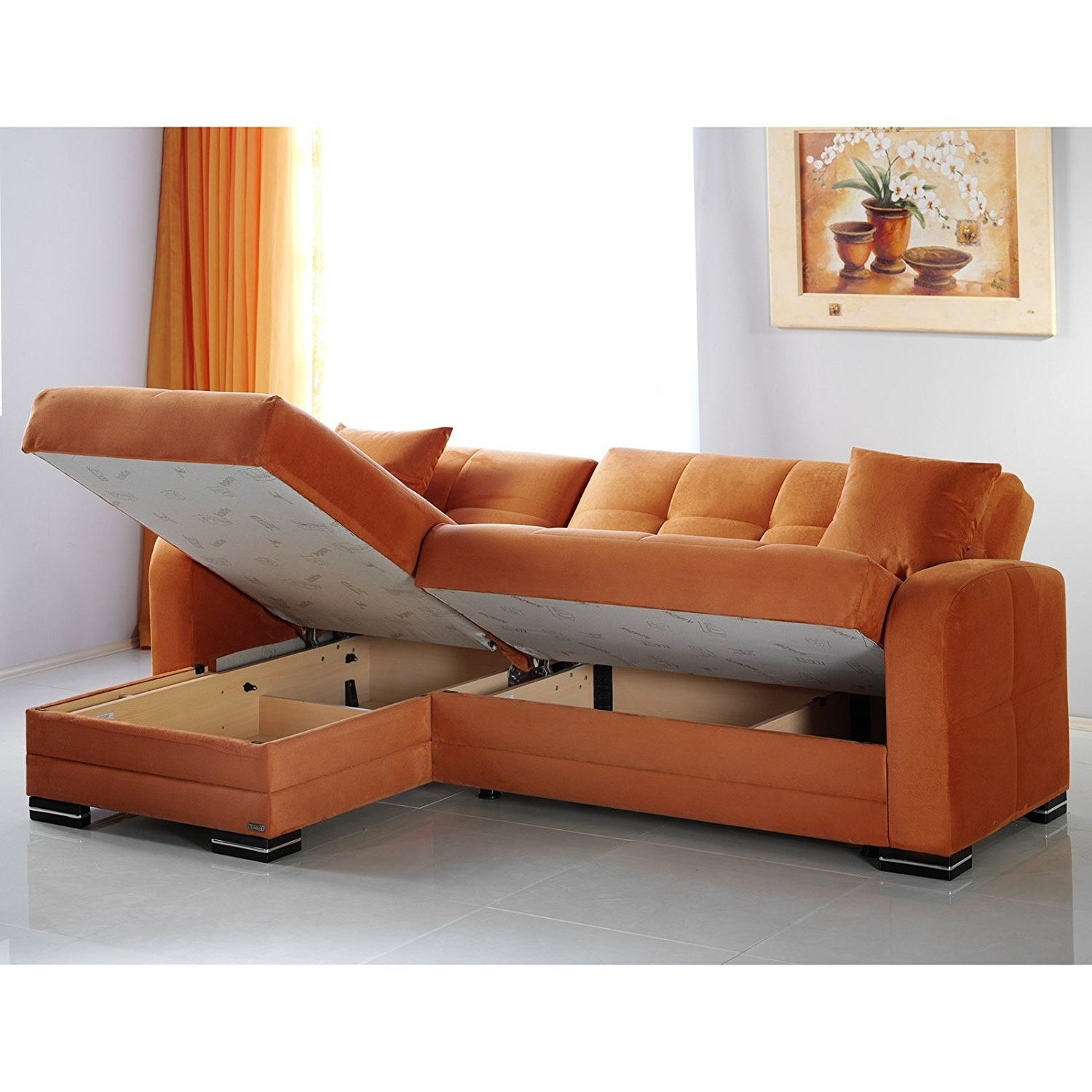 Amazon: Kubo Rainbow Orange Sectional Sofa: Kitchen & Dining Within Favorite Orange Sectional Sofas (View 6 of 15)