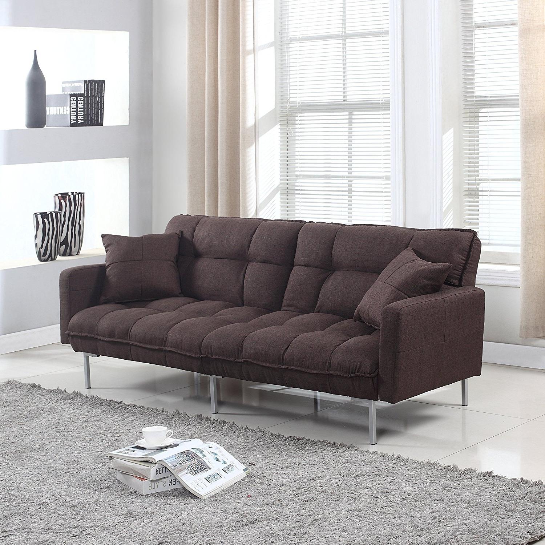 Amazon: Modern Plush Tufted Linen Fabric Sleeper Futon Pertaining To Latest Tufted Linen Sofas (View 11 of 15)