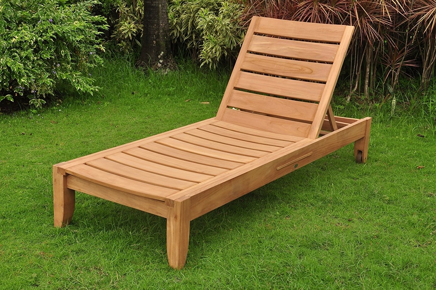 Amazon : New Grade A Teak Multi Position Sun Chaise Lounger Intended For Recent Teak Chaise Lounges (View 2 of 15)