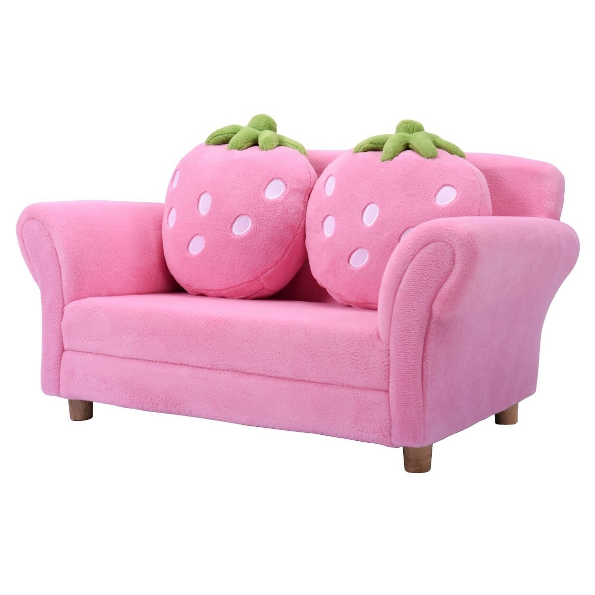 Amazon: New Pink Kids Sofa Strawberry Armrest Chair Lounge Intended For Most Popular Cheap Kids Sofas (View 2 of 15)