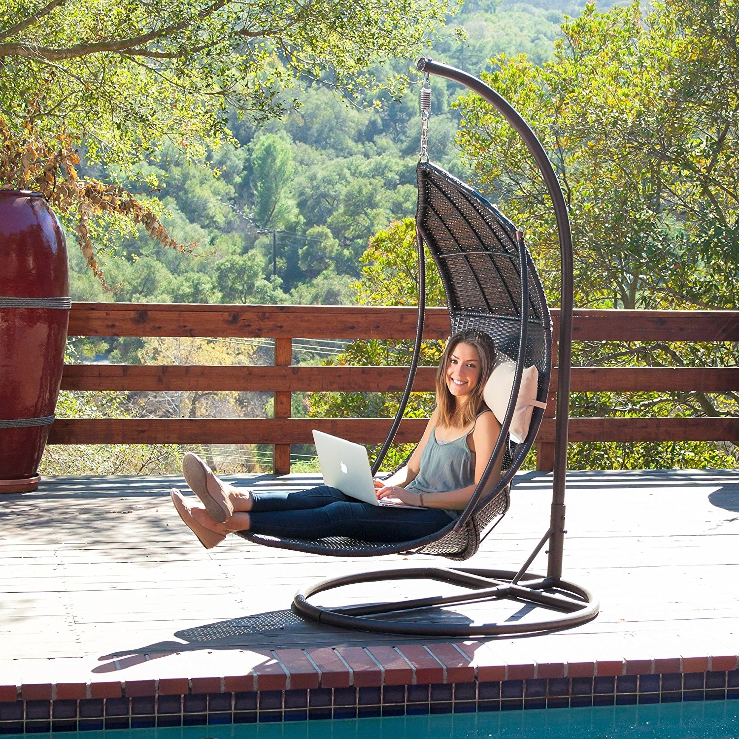 Amazon: Outdoor Brown Wicker Hanging Chair With Cushions Inside Favorite Chaise Lounge Swing Chairs (View 2 of 15)