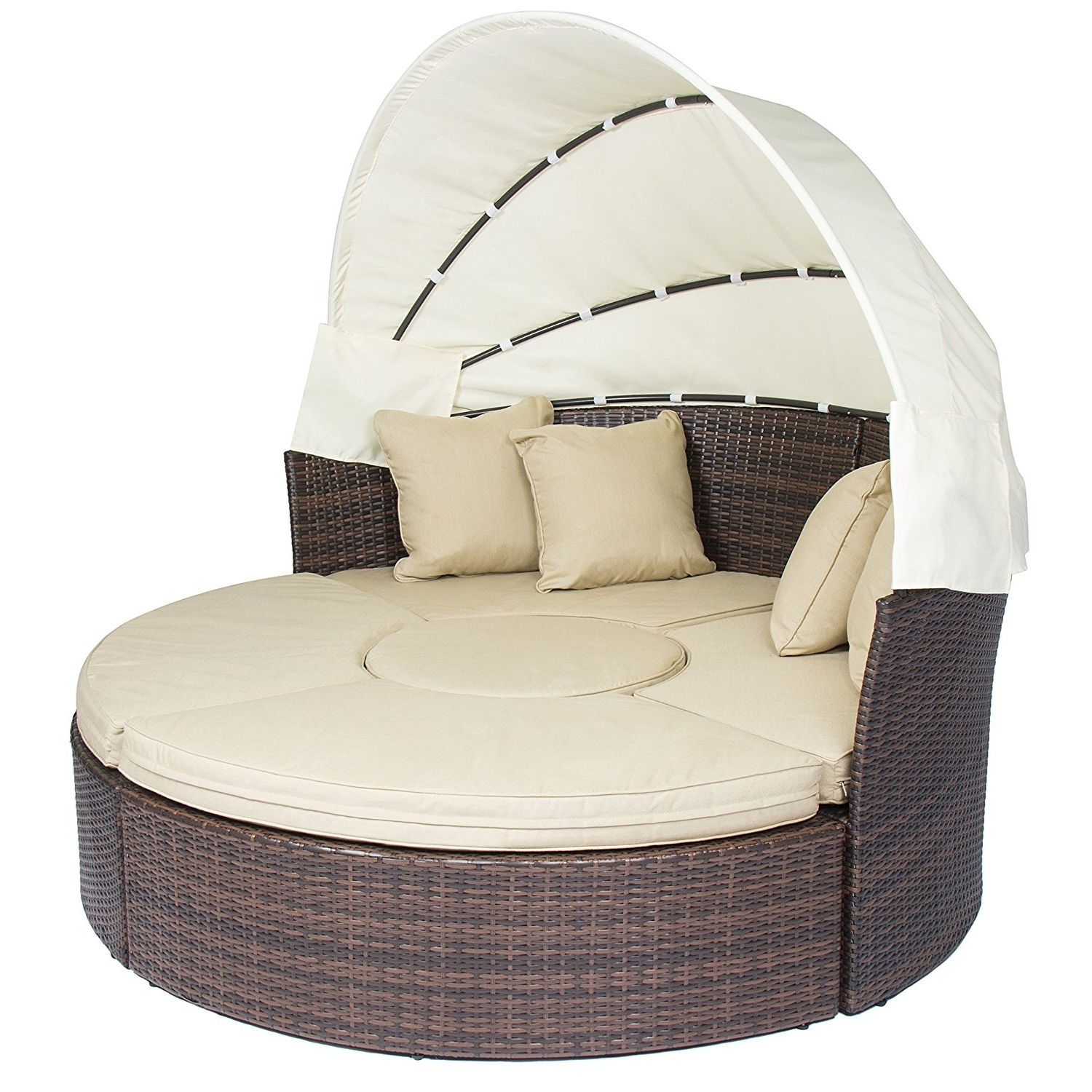 Amazon : Outdoor Patio Sofa Furniture Round Retractable Canopy Regarding Fashionable Outdoor Sofa Chairs (View 1 of 15)