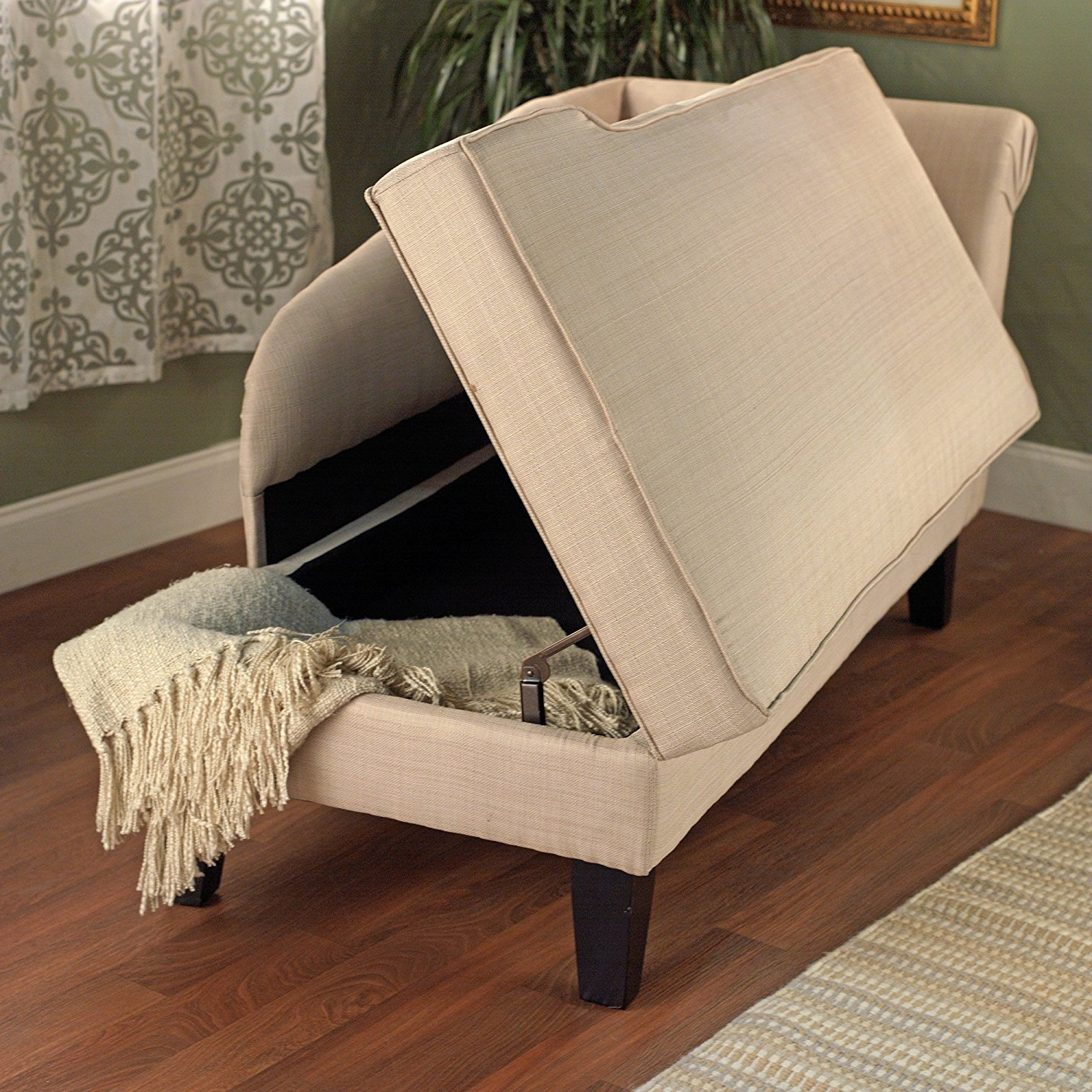Amazon: Tms Leena Storage Chaise, Beige: Kitchen & Dining Pertaining To 2018 Chaise Lounge Chairs With Storage (View 1 of 15)