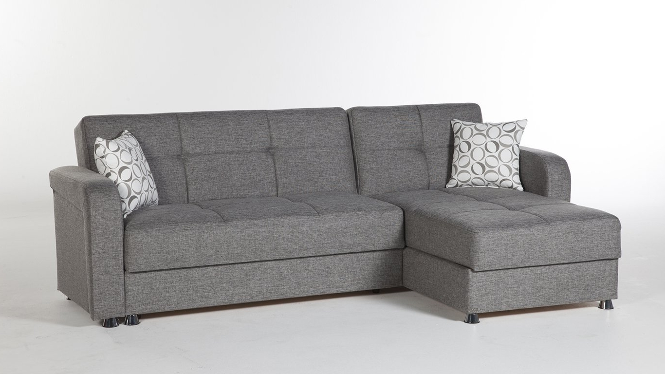 Amazon: Vision Diego Gray Sectional Sofasunset: Kitchen Inside Current Sleeper Sectional Sofas With Chaise (View 4 of 15)