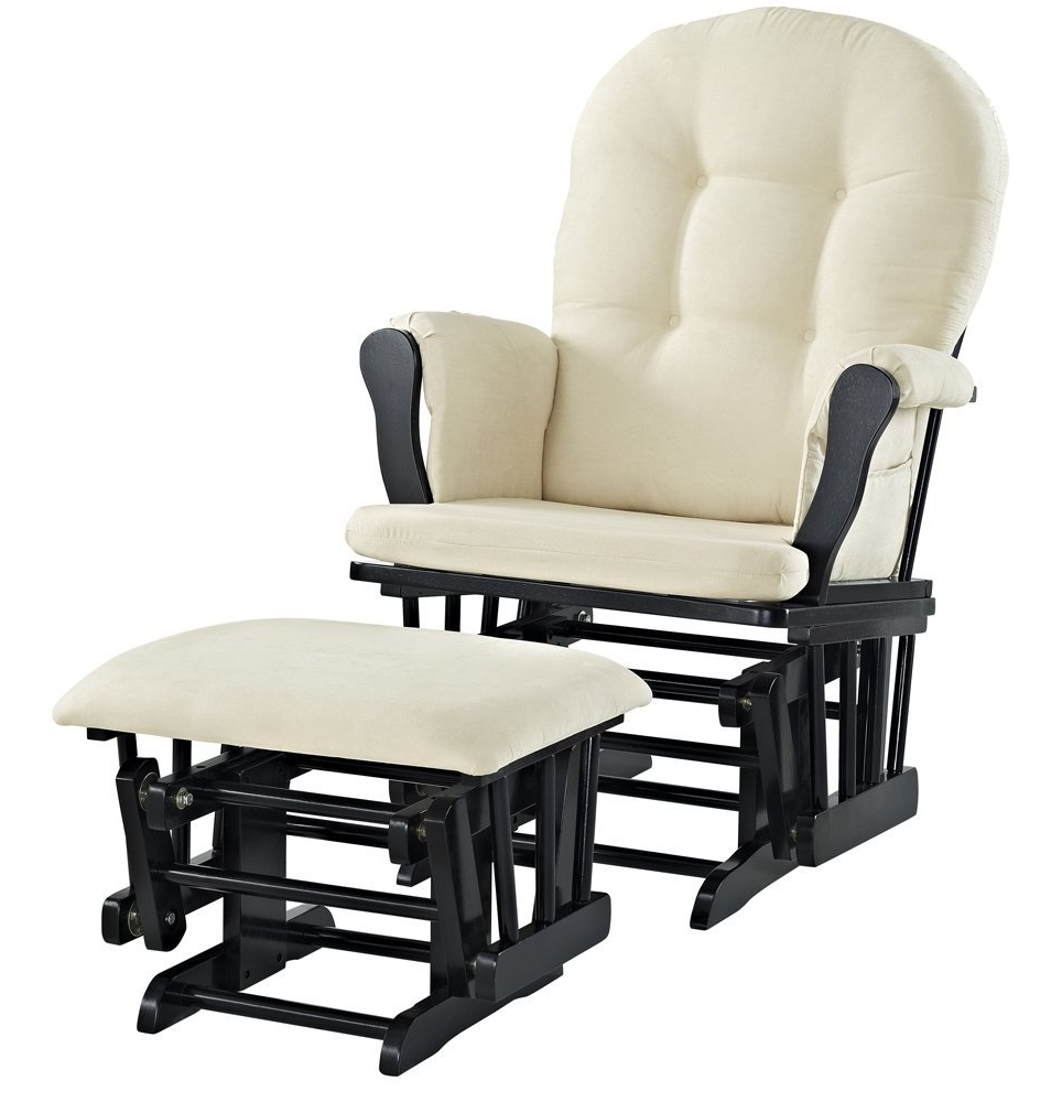Amazon : Windsor Glider And Ottoman, White With Gray Cushion Intended For Newest Gliders With Ottoman (View 1 of 15)