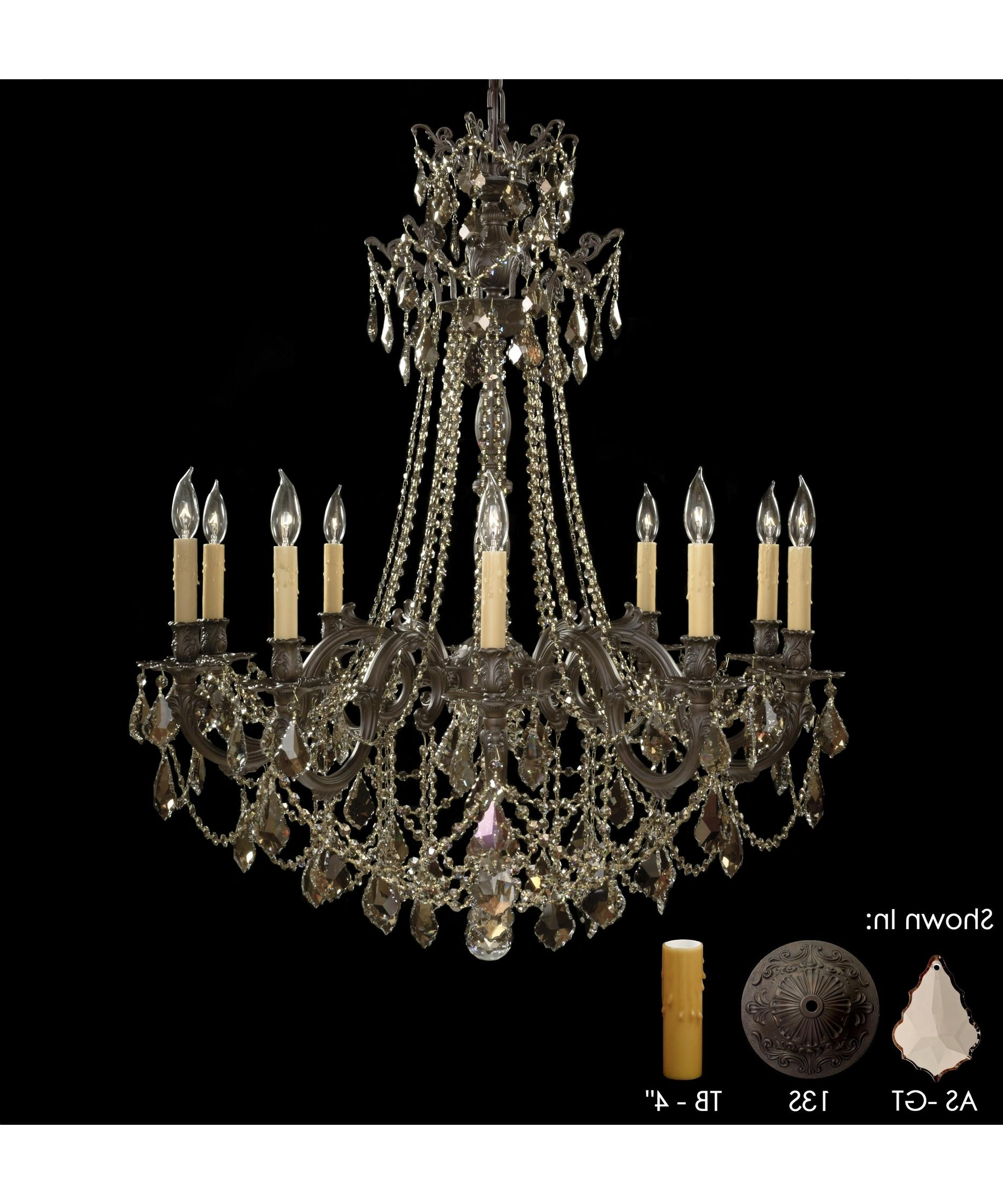 American Brass And Crystal Ch9258 Biella 36 Inch Wide 10 Light Regarding Well Known Brass And Crystal Chandeliers (View 7 of 15)