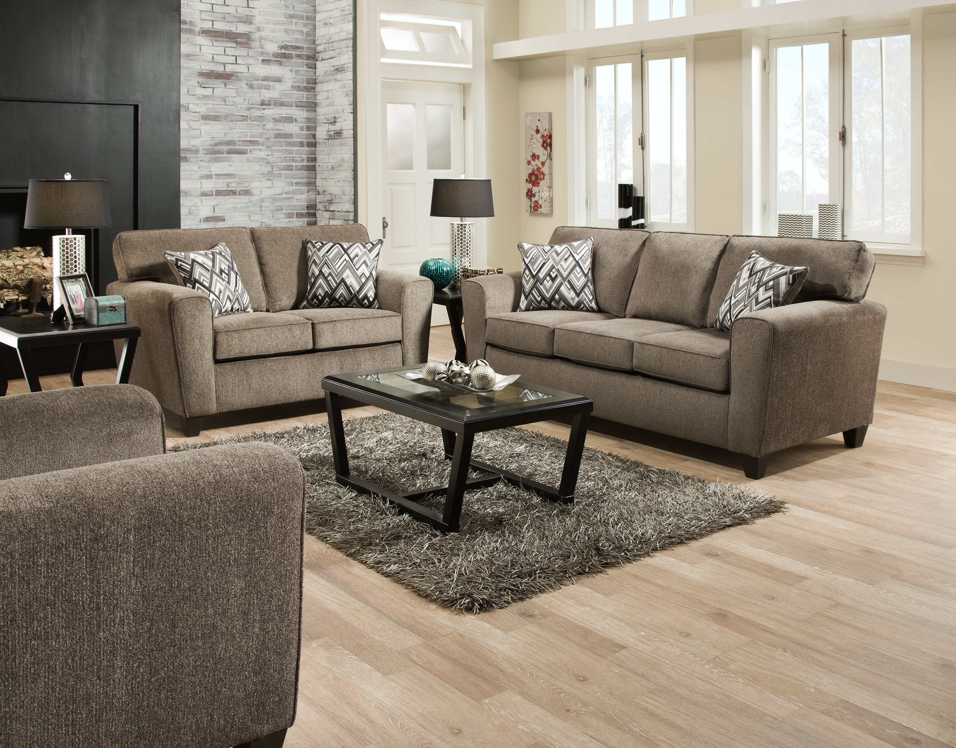 """American Furniture 3100 """"Cornell Pewter"""" Sofa & Loveseat – Crazy In 2017 Janesville Wi Sectional Sofas (View 12 of 15)"""