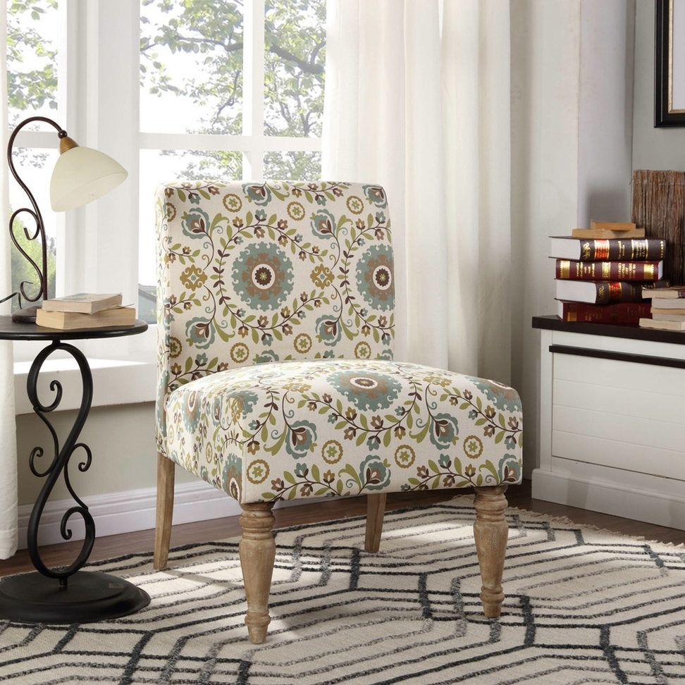 Anchanting Armless Chair With Floral Pattern In White Base Fabric Regarding 2018 Floral Sofas And Chairs (View 15 of 15)