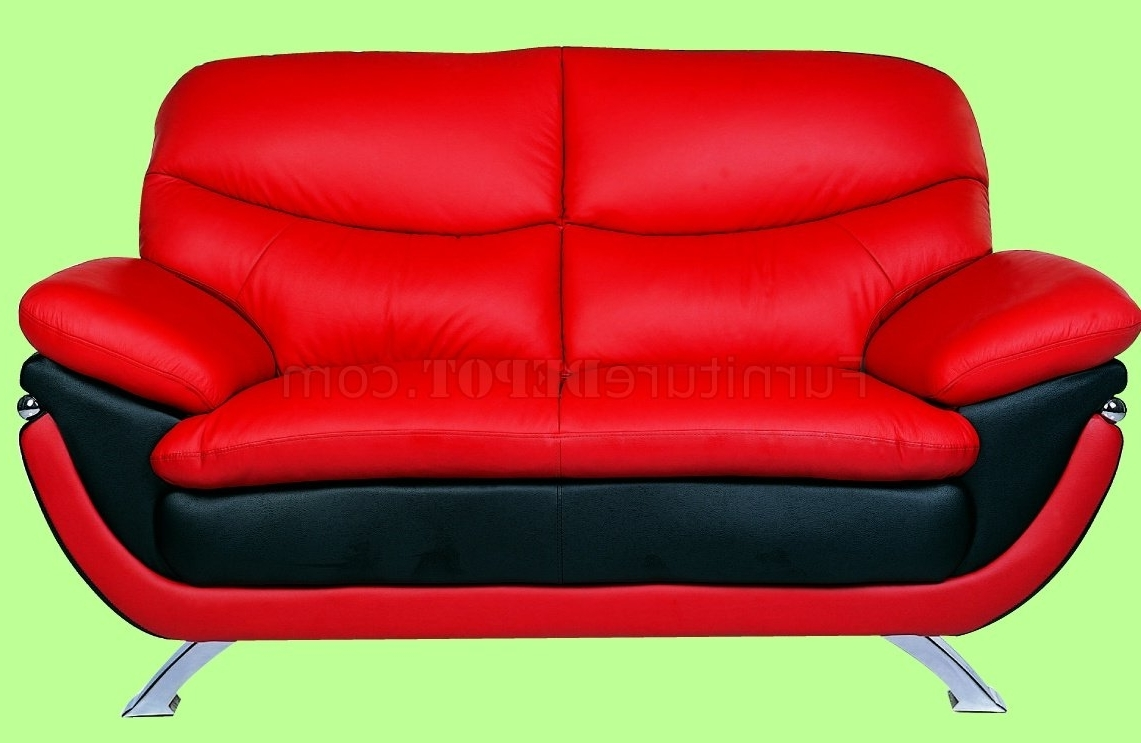 And Red Top Grain Leather Upholstery Sofa With Regard To Recent Red Sofa Chairs (View 2 of 15)