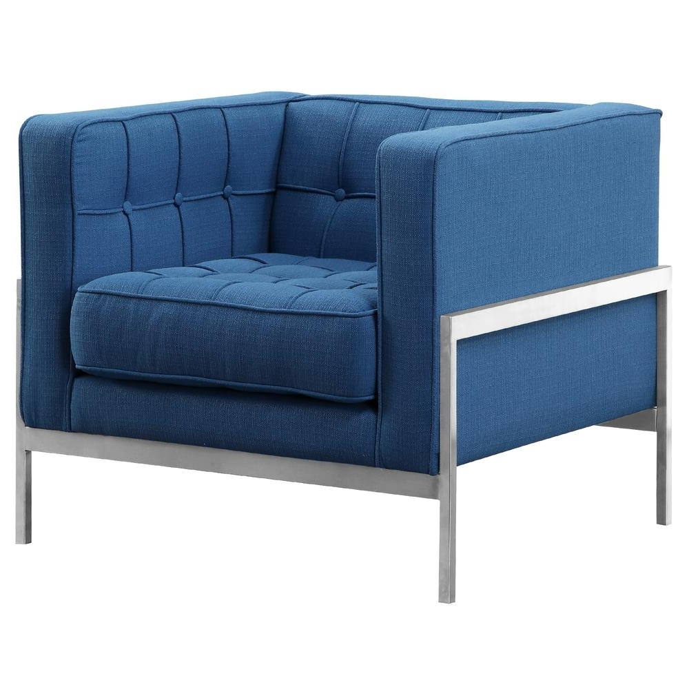 Andre Armen Living Blue Fabric Contemporary Sofa Chair In Brushed Throughout 2018 Contemporary Sofa Chairs (View 15 of 15)