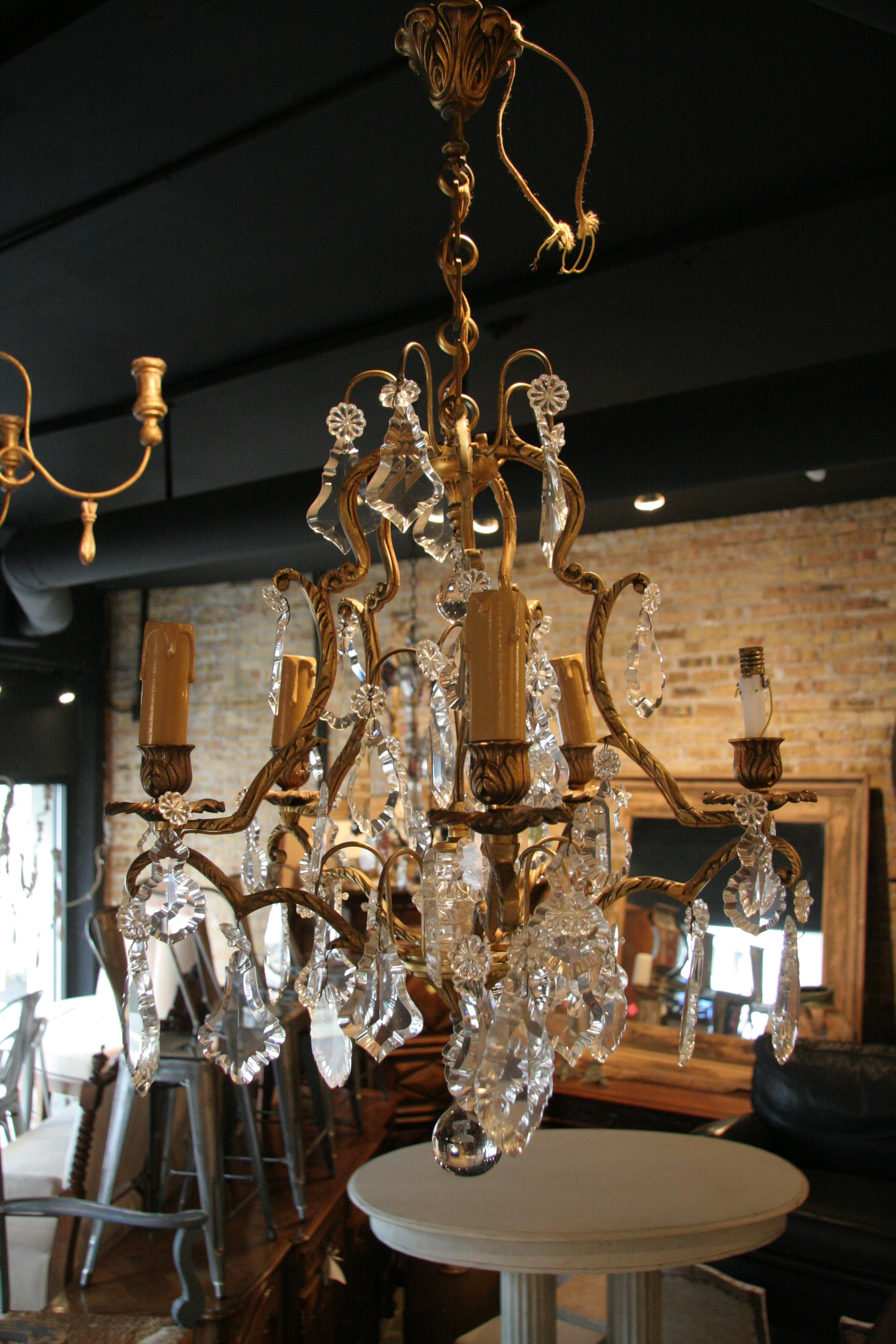 Antique French 5 Light Brass And Crystal Chandelier – Sold – Within 2018 Crystal And Brass Chandelier (View 2 of 15)