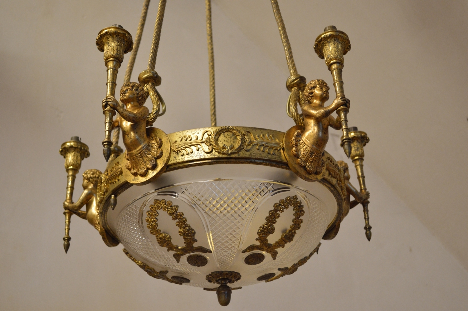 Antique Louis Xvi Style Chandelier With Cherubs In Gilt Bronze For With Most Popular Antique Looking Chandeliers (View 6 of 15)