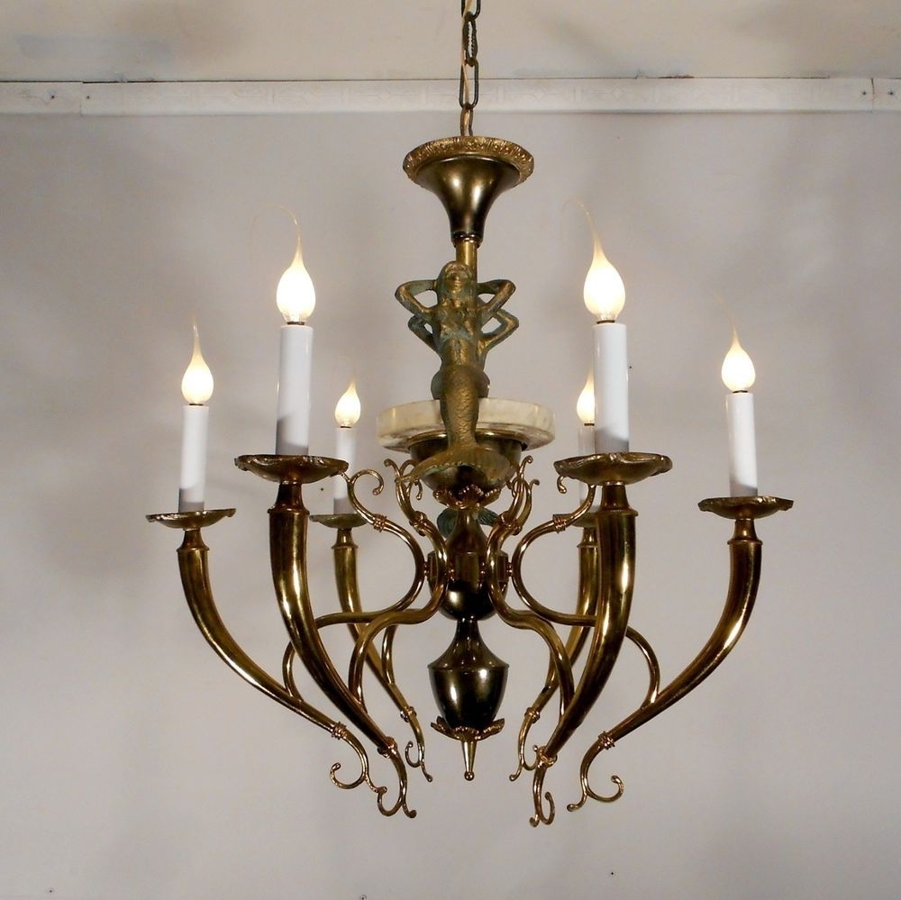 Antique Style Nautical Mermaid Chandelier Lamp Ceiling Light Fixture Intended For Popular Antique Looking Chandeliers (View 7 of 15)