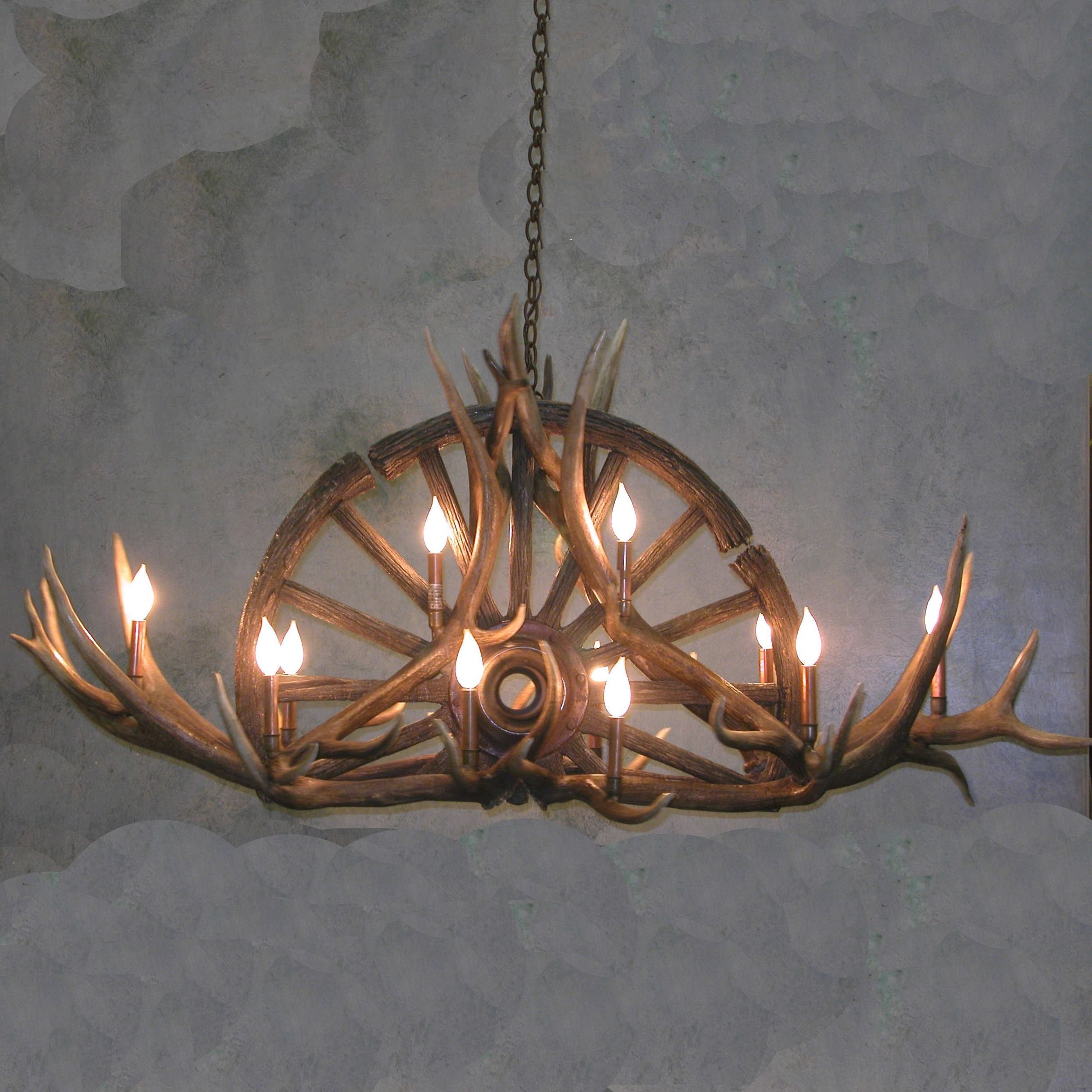 Antler Chandeliers And Lighting Inside Well Known Wagon Wheel Antler Chandelier (View 10 of 15)