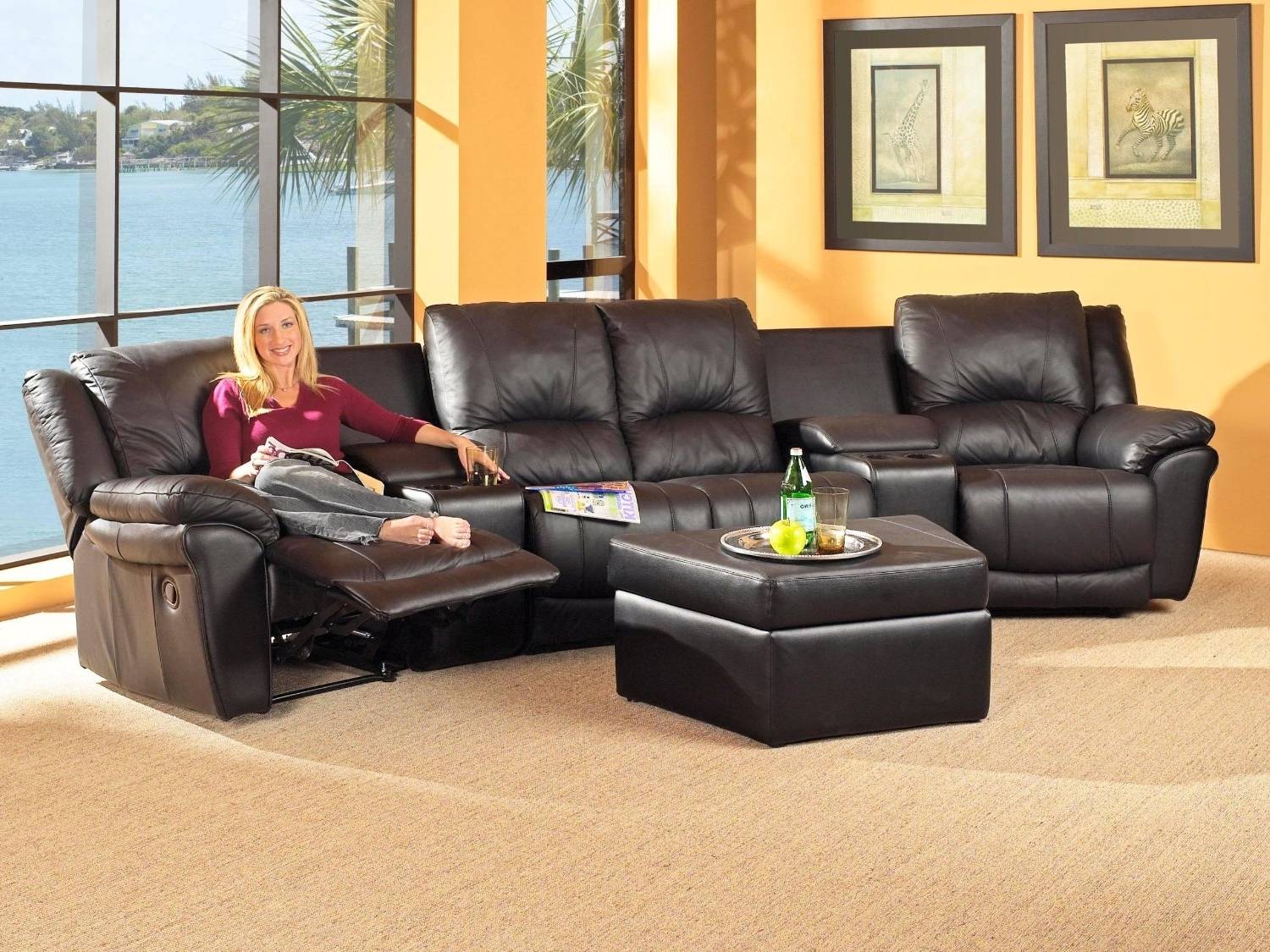 Apartment Size Sectionals With Chaise Pertaining To Fashionable Reclining Sectional With Chaise Sectional Couches Big Lots (View 8 of 15)